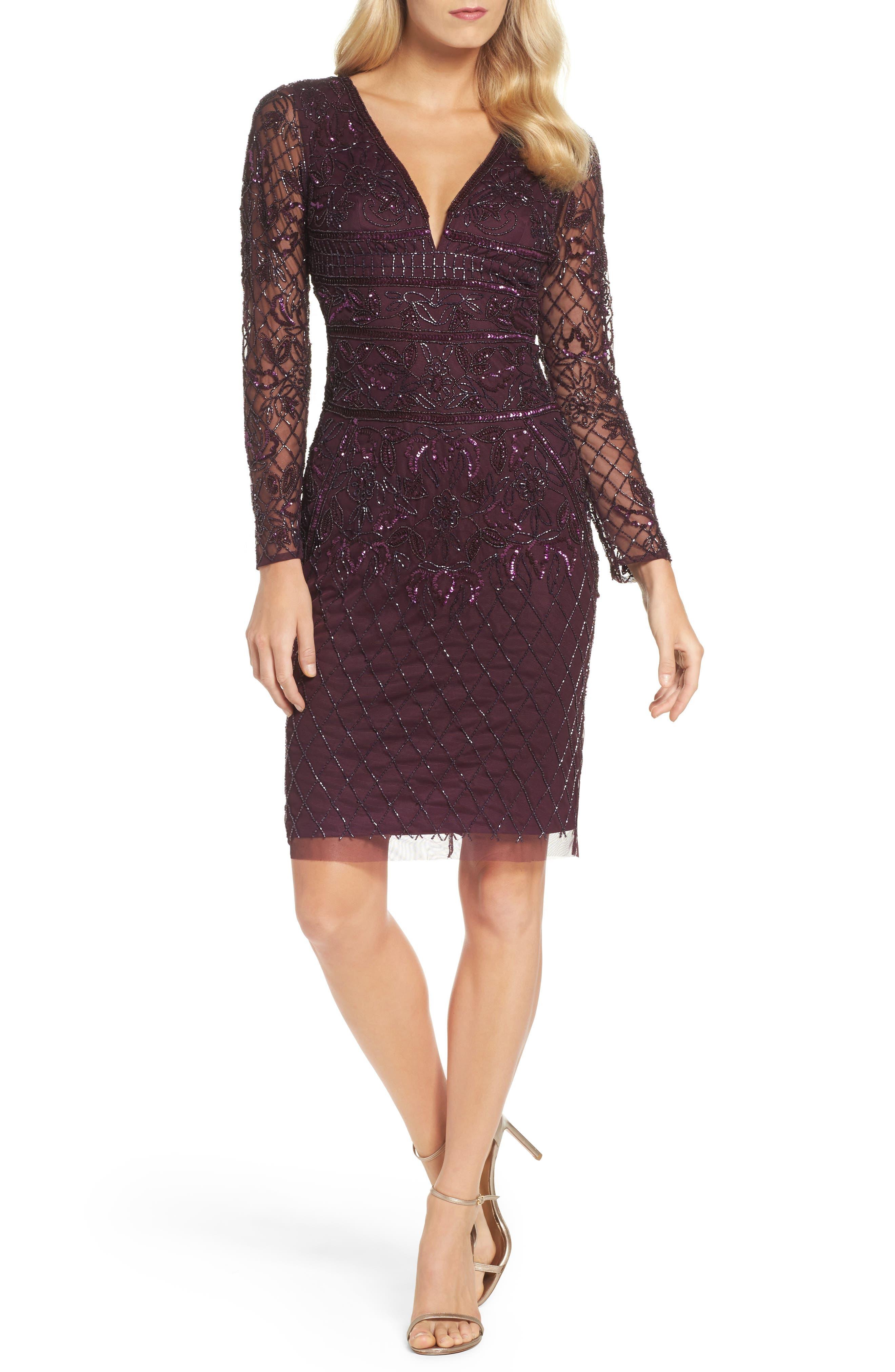 Embellished Deep V-Neck Sheath Dress,                             Main thumbnail 1, color,                             504