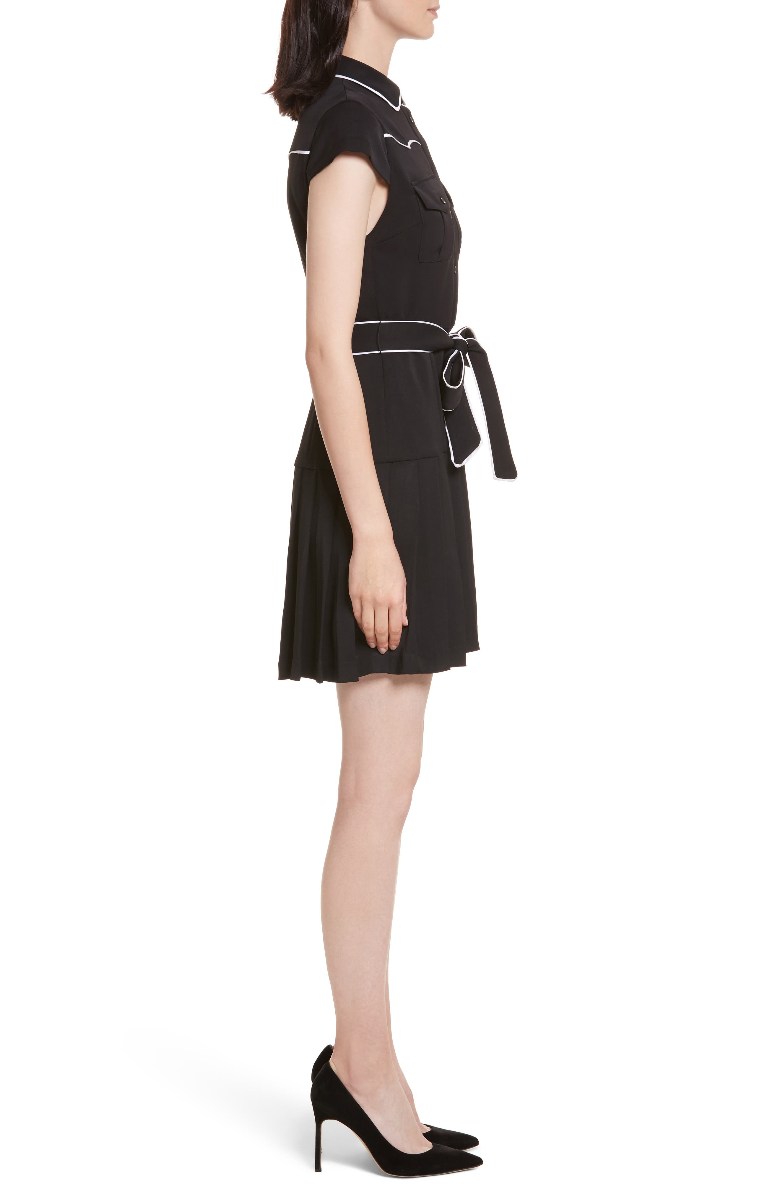 Pleated Shirtdress,                             Alternate thumbnail 3, color,                             009