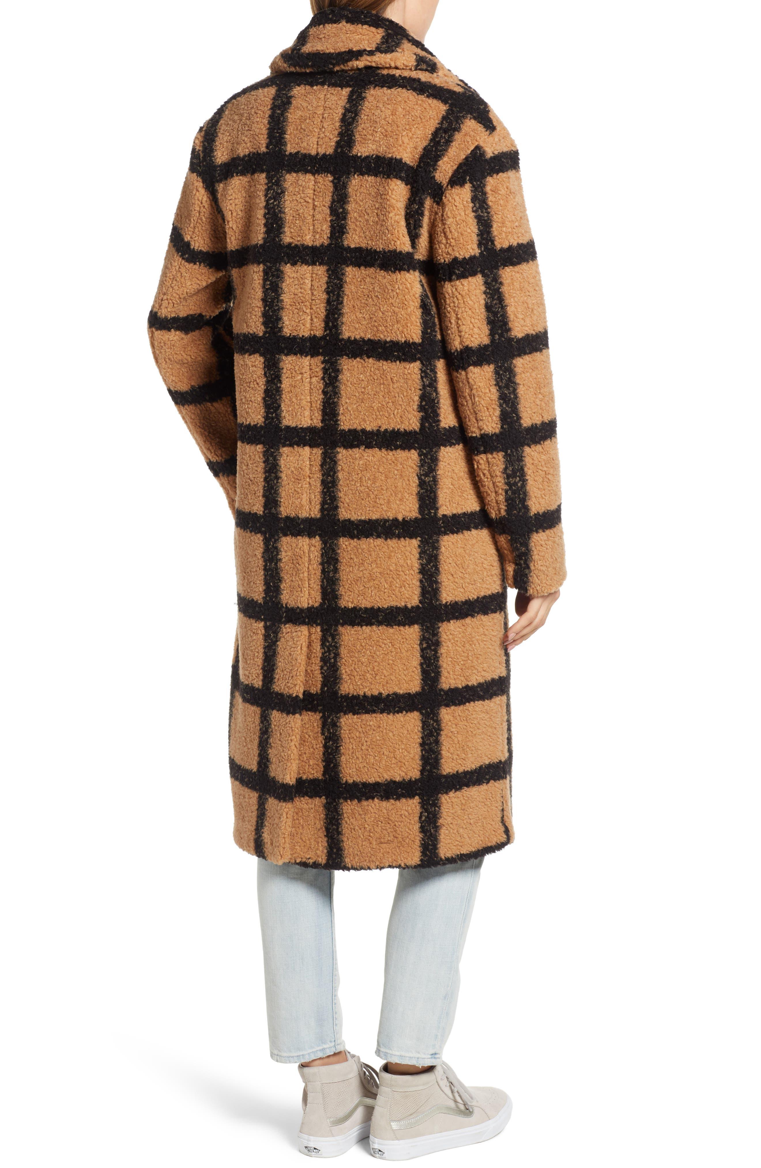 Berber Longline Plaid Coat,                             Alternate thumbnail 2, color,                             230