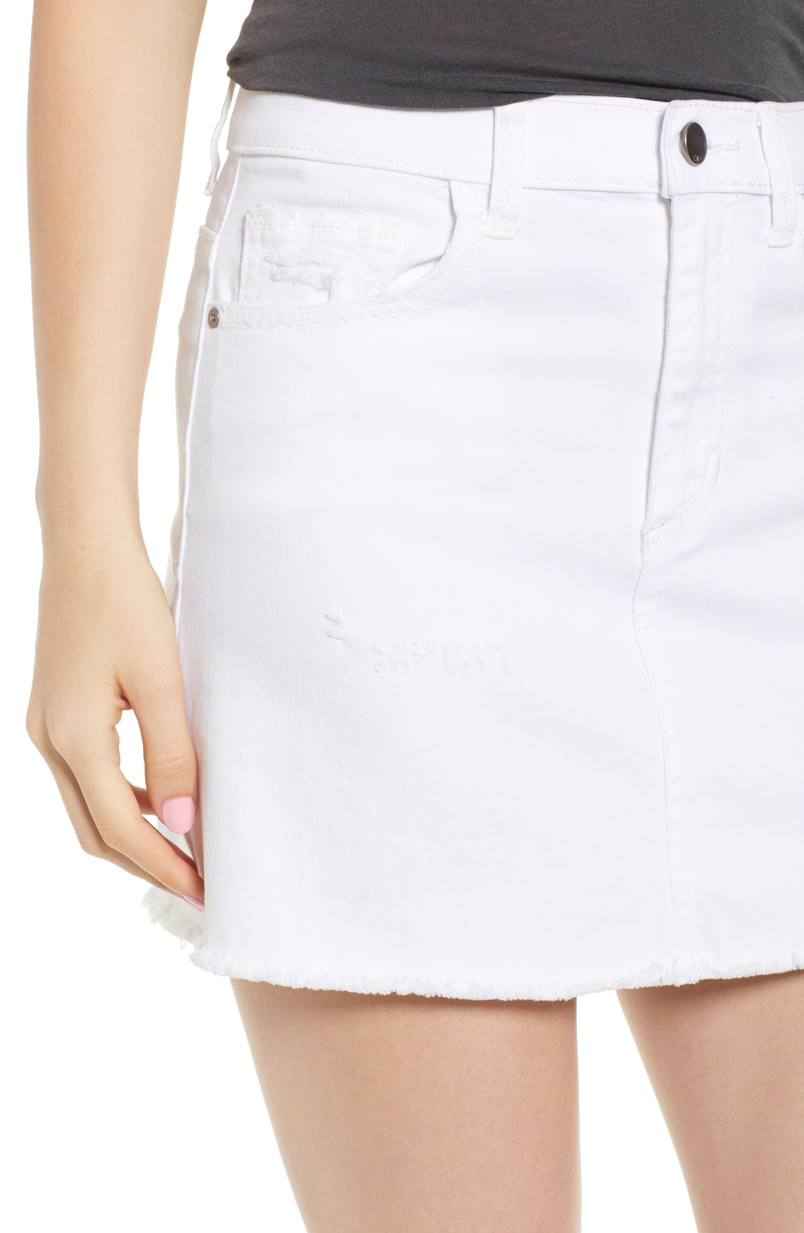 Raw Hem Denim Miniskirt,                             Alternate thumbnail 4, color,                             100