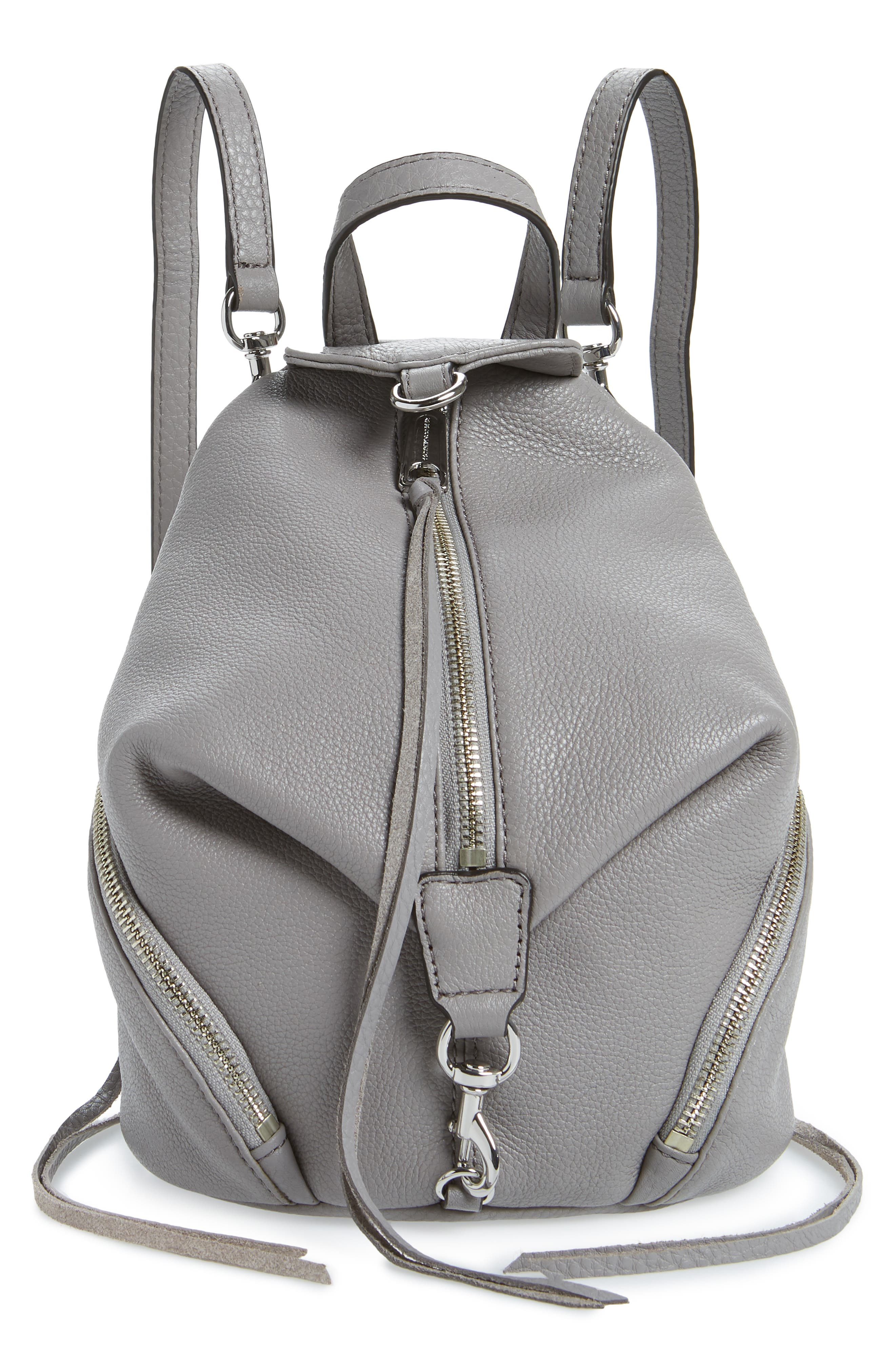Mini Julian Pebbled Leather Convertible Backpack,                         Main,                         color, GREY