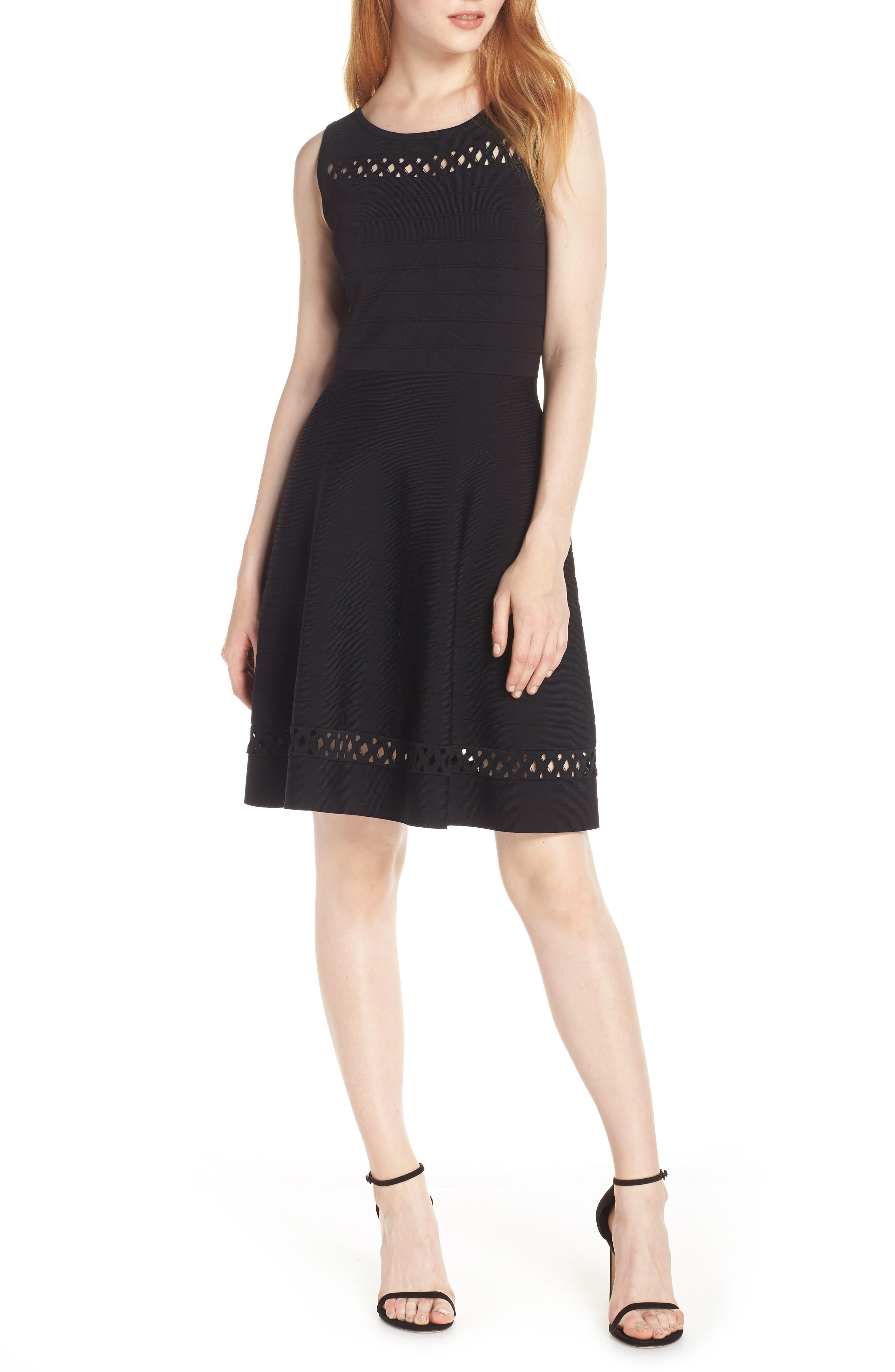 French Connection Kai Fit & Flare Sweater Dress, Black