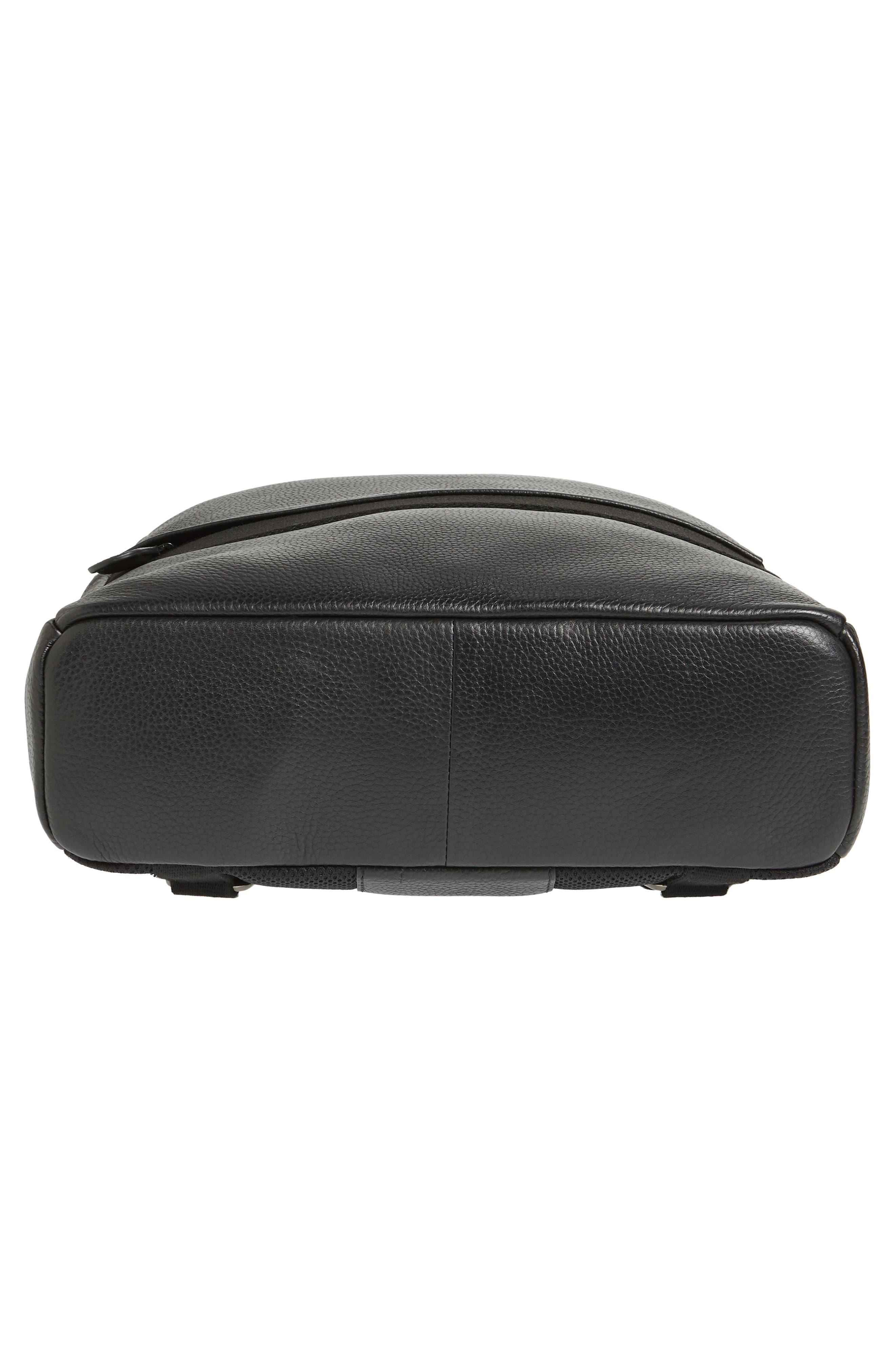 Rickrak Leather Backpack,                             Alternate thumbnail 6, color,                             BLACK