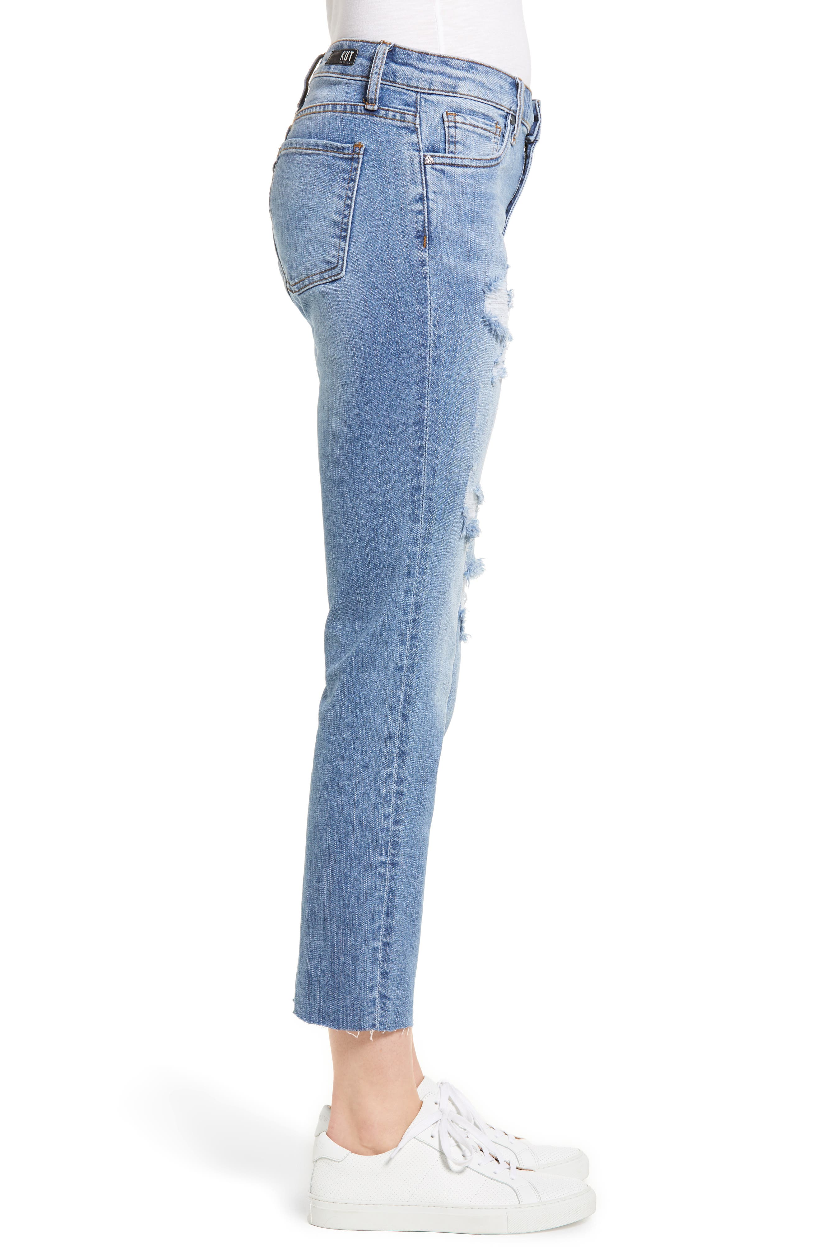 Reese Ripped Raw Edge Ankle Jeans,                             Alternate thumbnail 3, color,