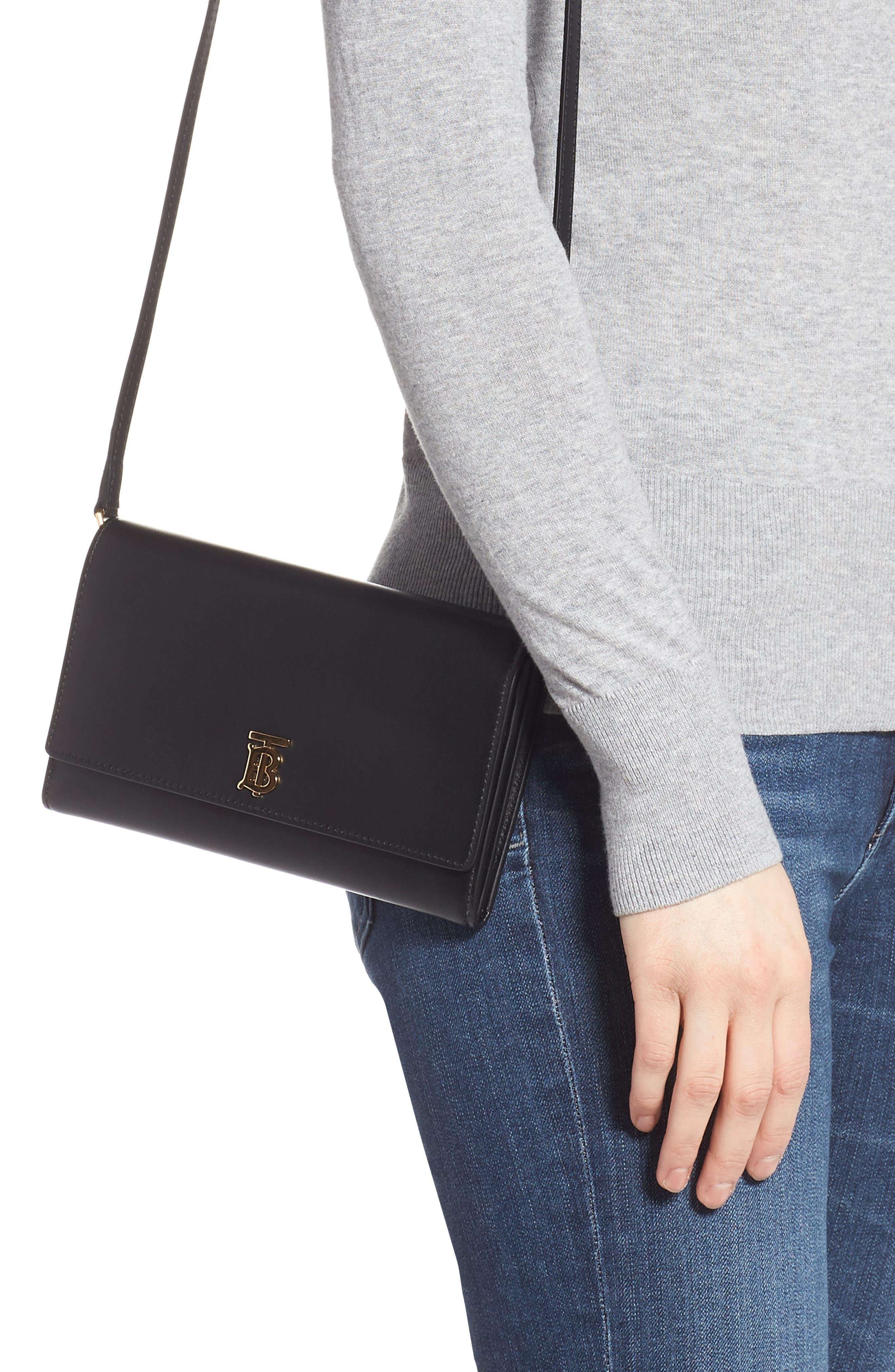 BURBERRY,                             Hazelmere Leather Crossbody Wallet,                             Alternate thumbnail 2, color,                             BLACK