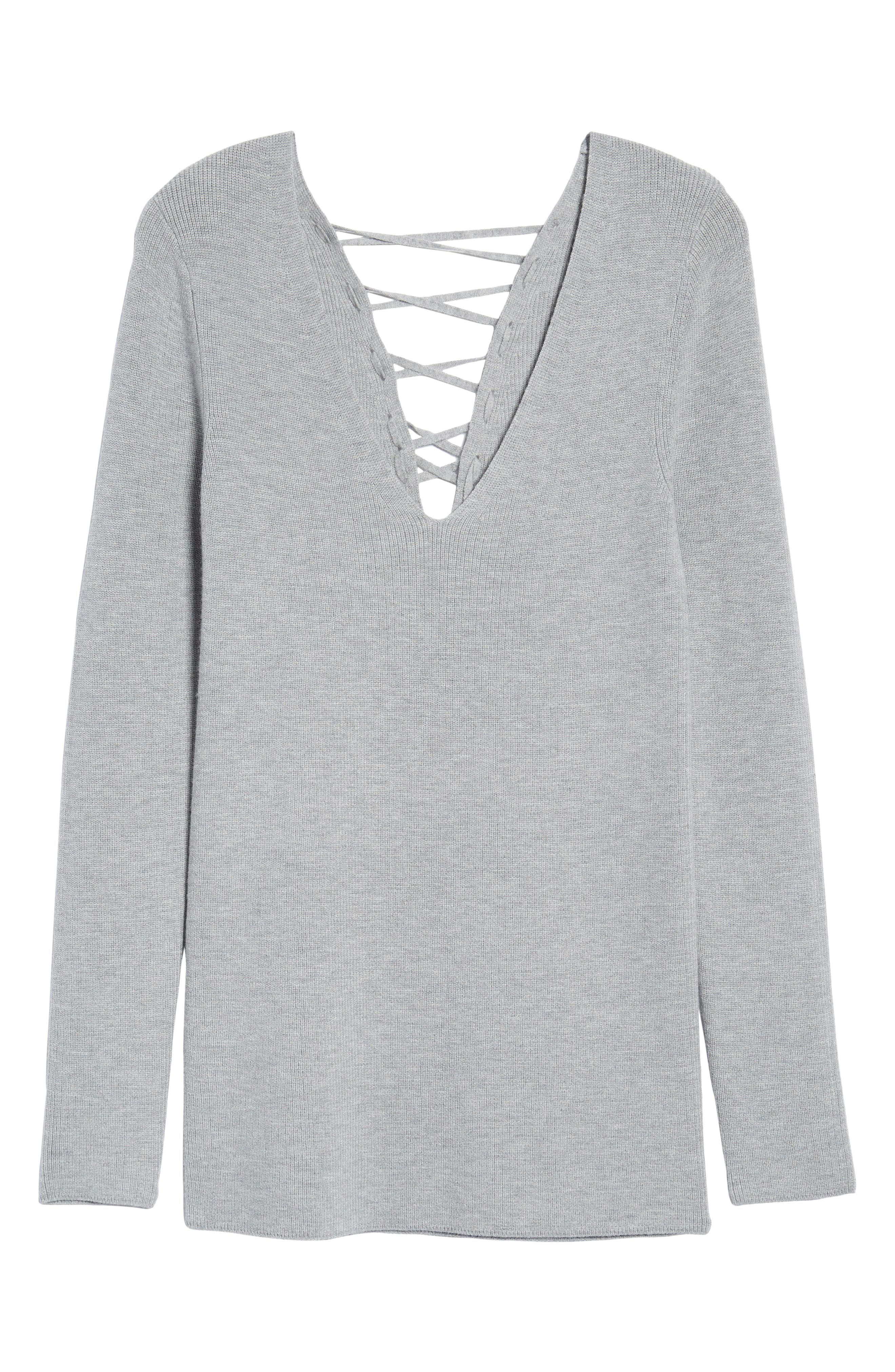 Lace-Up Back Sweater,                             Alternate thumbnail 6, color,                             030