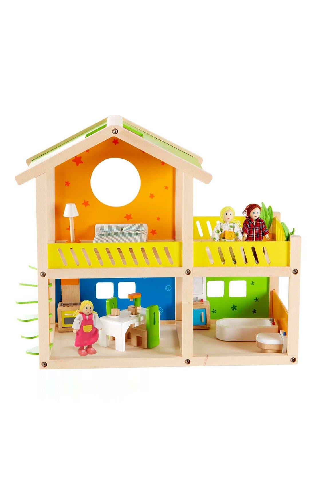 'Happy Villa' Wooden Dollhouse,                             Main thumbnail 1, color,                             000