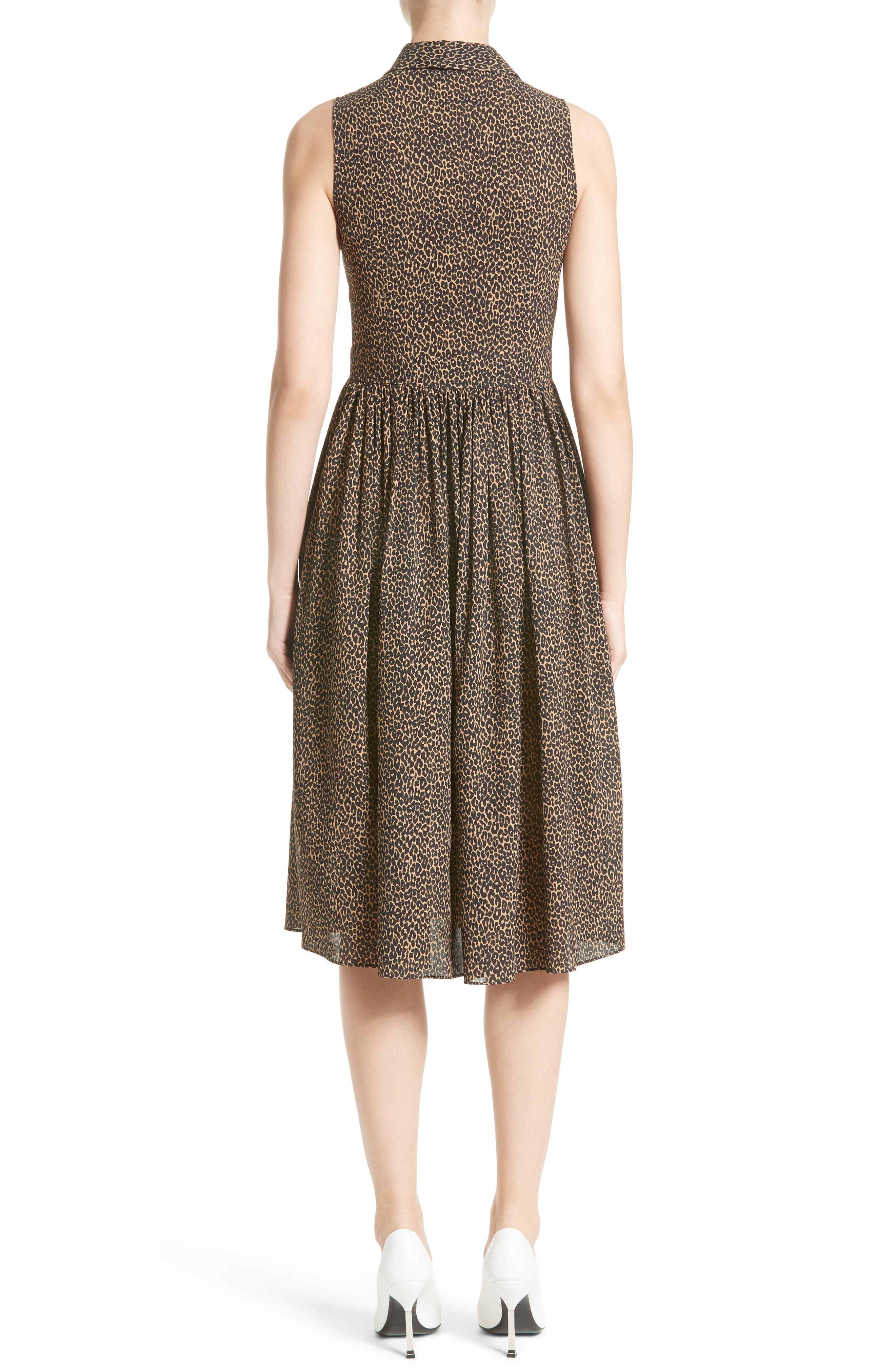 Leopard Print Silk Georgette Shirtdress,                             Alternate thumbnail 2, color,                             200
