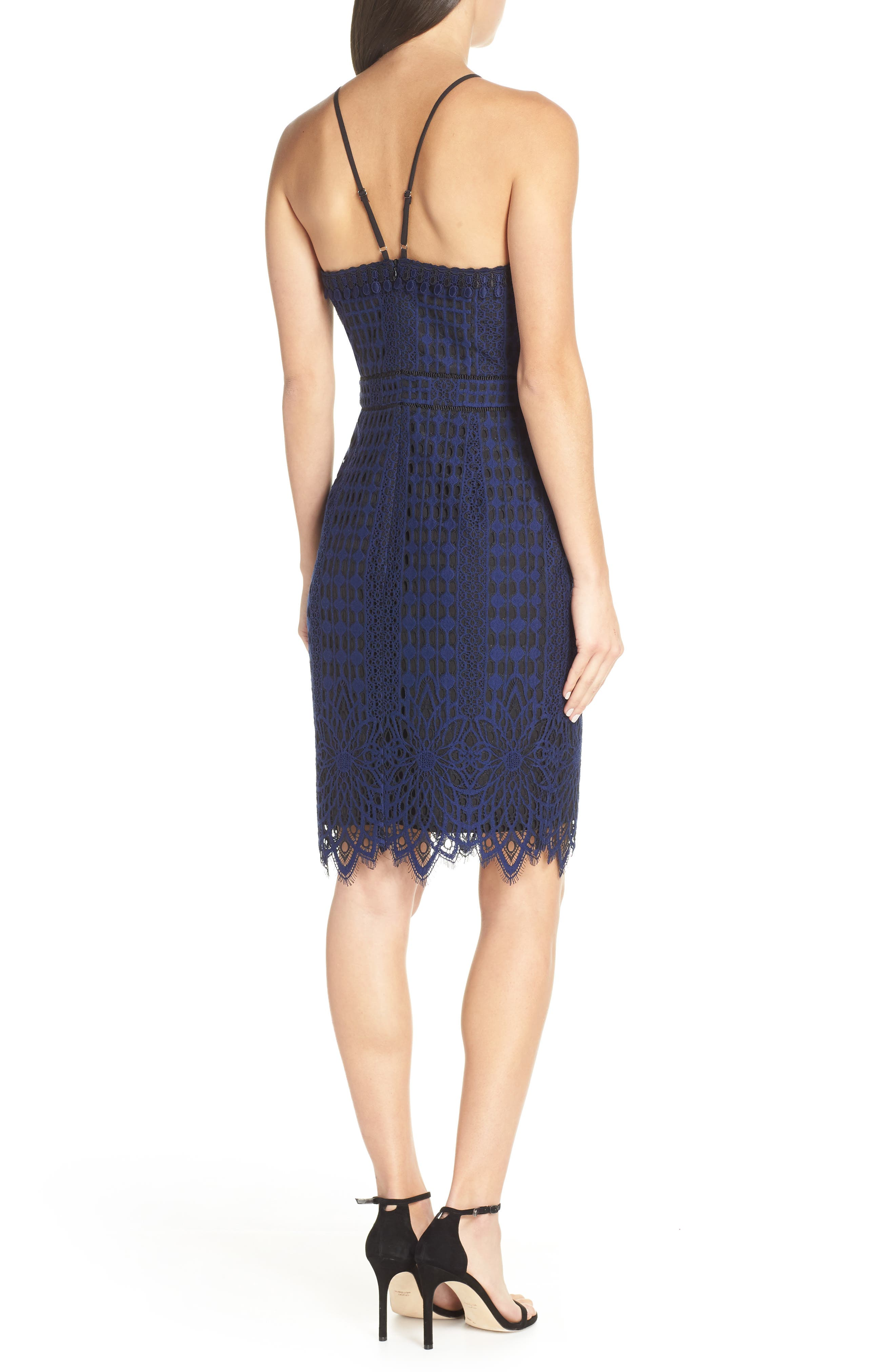 HARLYN,                             Contrast Chiffon Lace Halter Body-Con Dress,                             Alternate thumbnail 2, color,                             NAVY