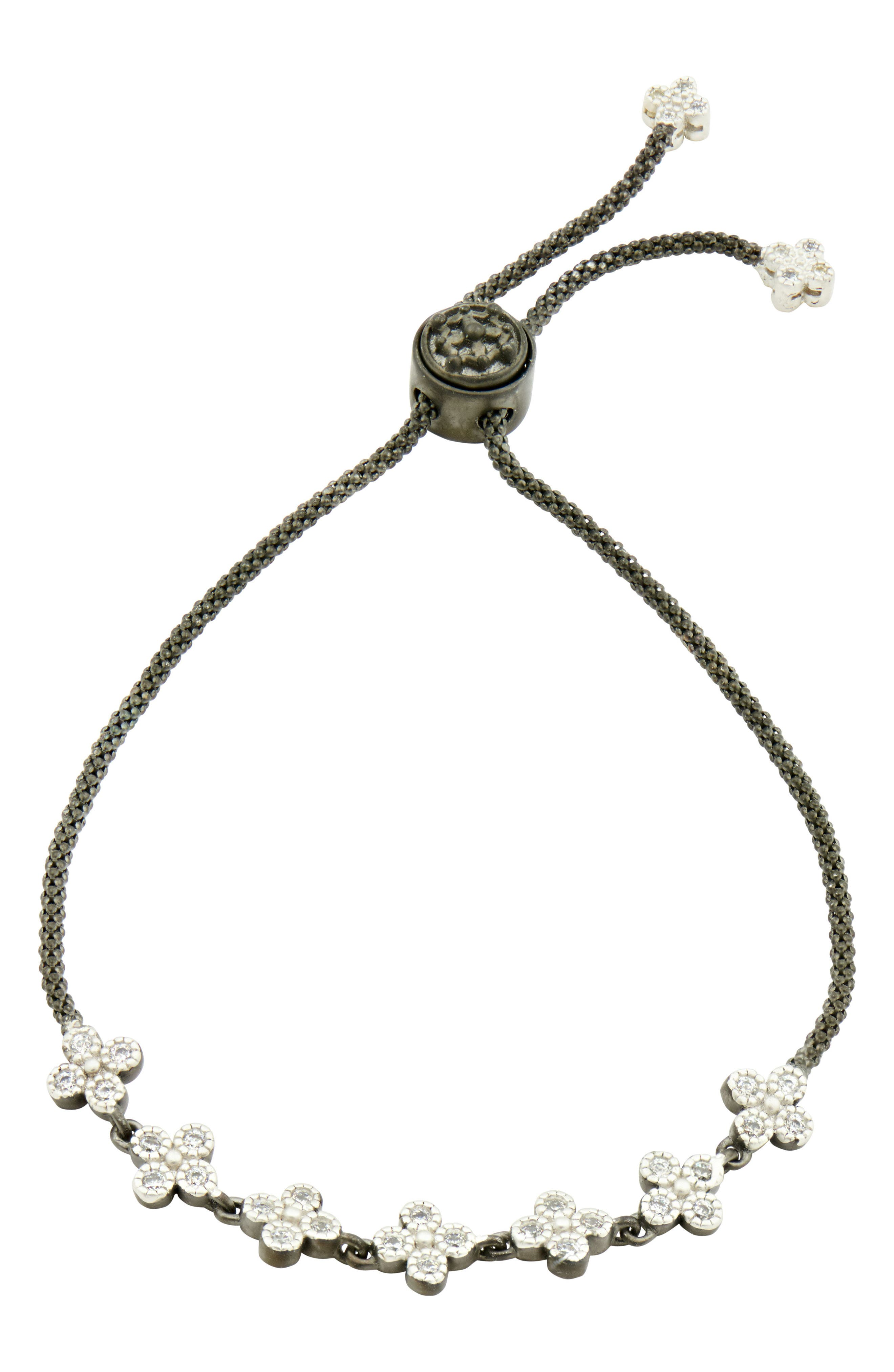 Signature Clover Adjustable Bracelet,                         Main,                         color, BLACK/ SILVER