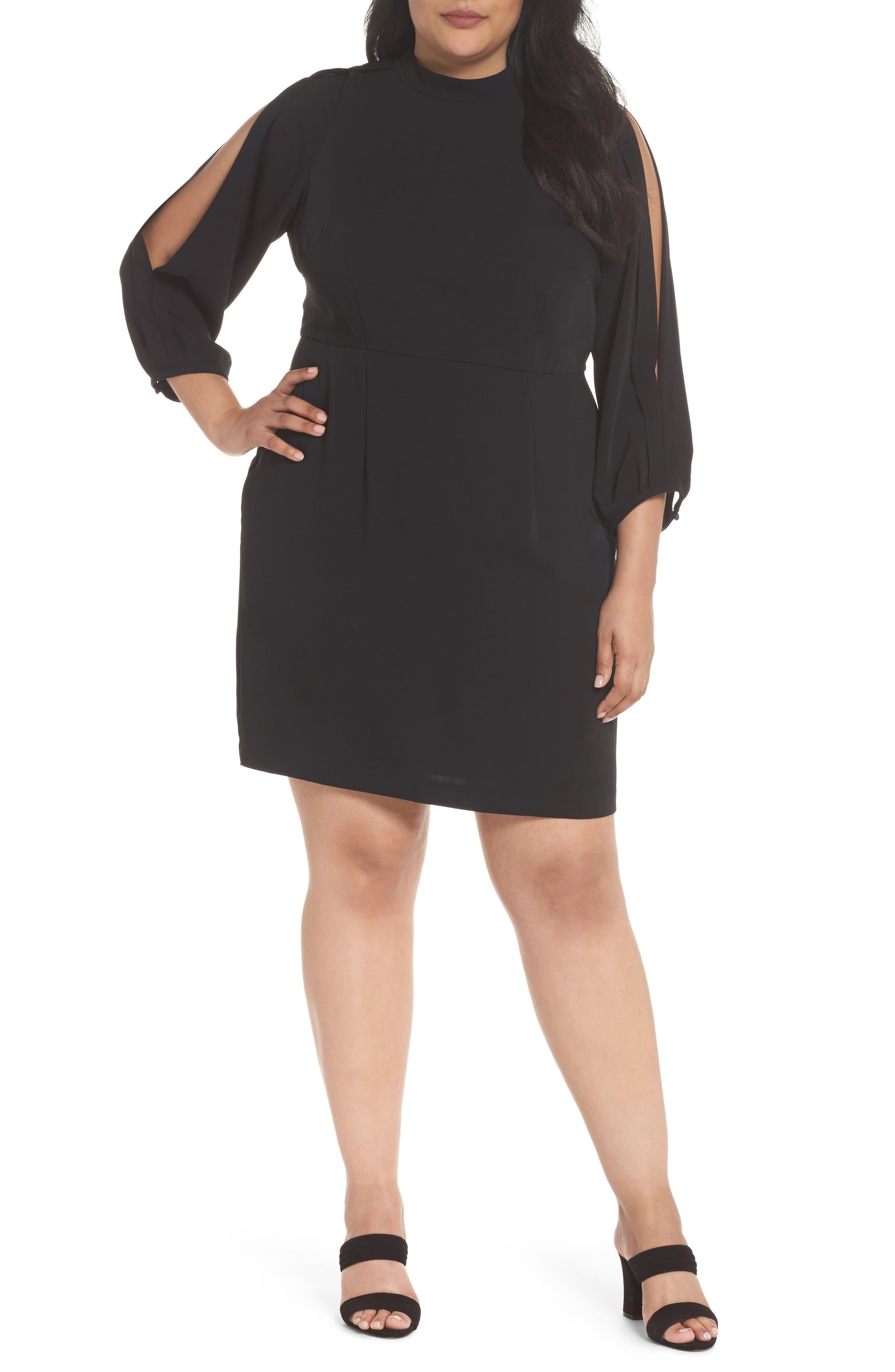 Mock Neck Split Sleeve Dress,                             Main thumbnail 1, color,                             001