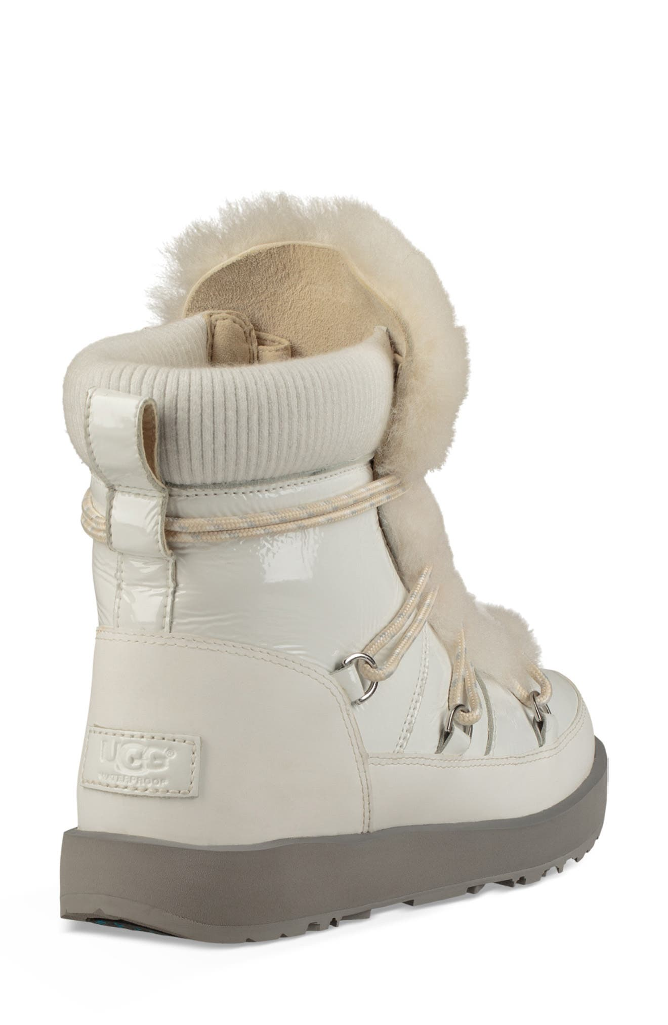 Highland Genuine Shearling Waterproof Bootie,                             Alternate thumbnail 2, color,                             WHITE LEATHER