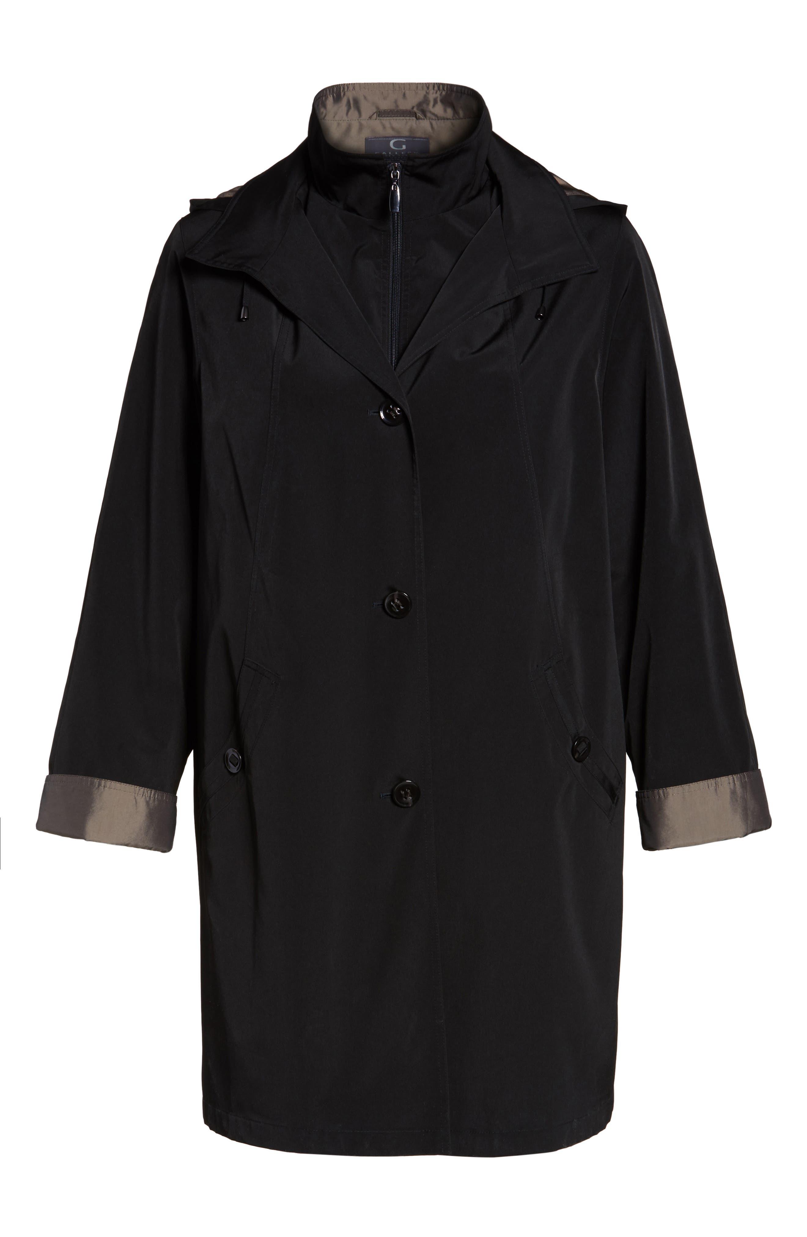 Two-Tone Long Silk Look Raincoat,                             Alternate thumbnail 6, color,                             BLACK