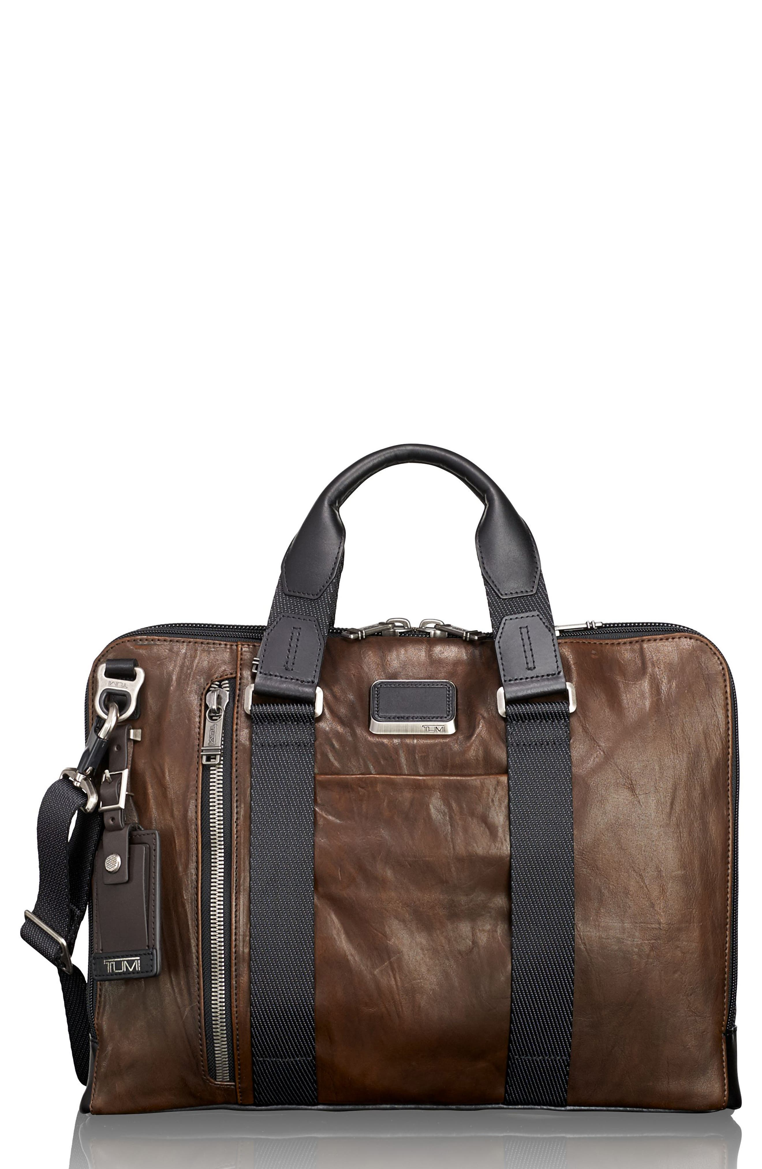 Alpha Bravo - Aviano Leather Briefcase,                             Main thumbnail 1, color,
