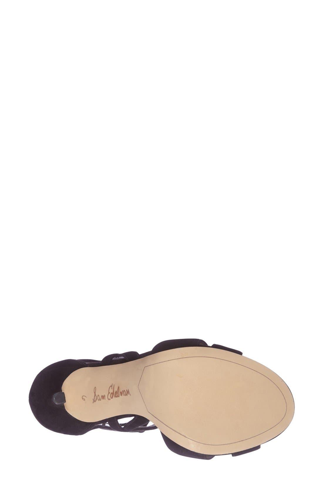 'Azela' Tasseled Lace-Up Sandal,                             Alternate thumbnail 3, color,                             001