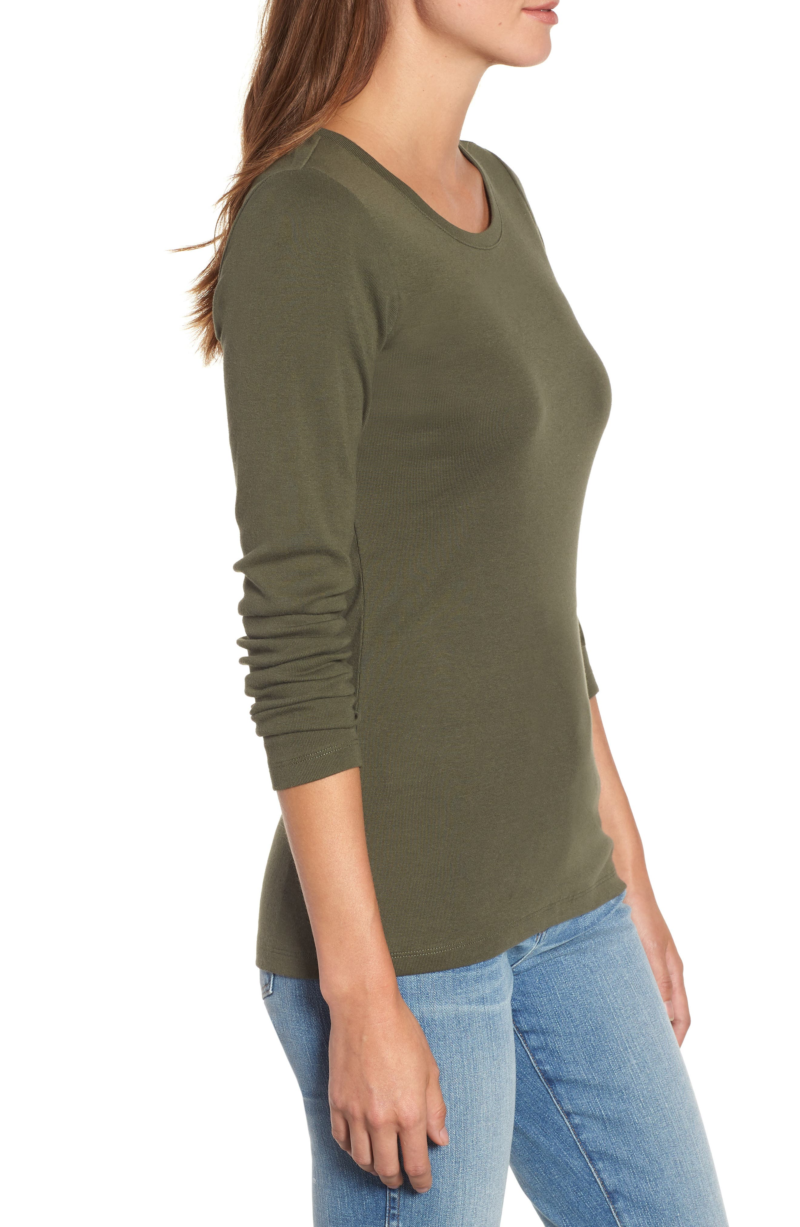 Long Sleeve Scoop Neck Cotton Tee,                             Alternate thumbnail 3, color,                             300