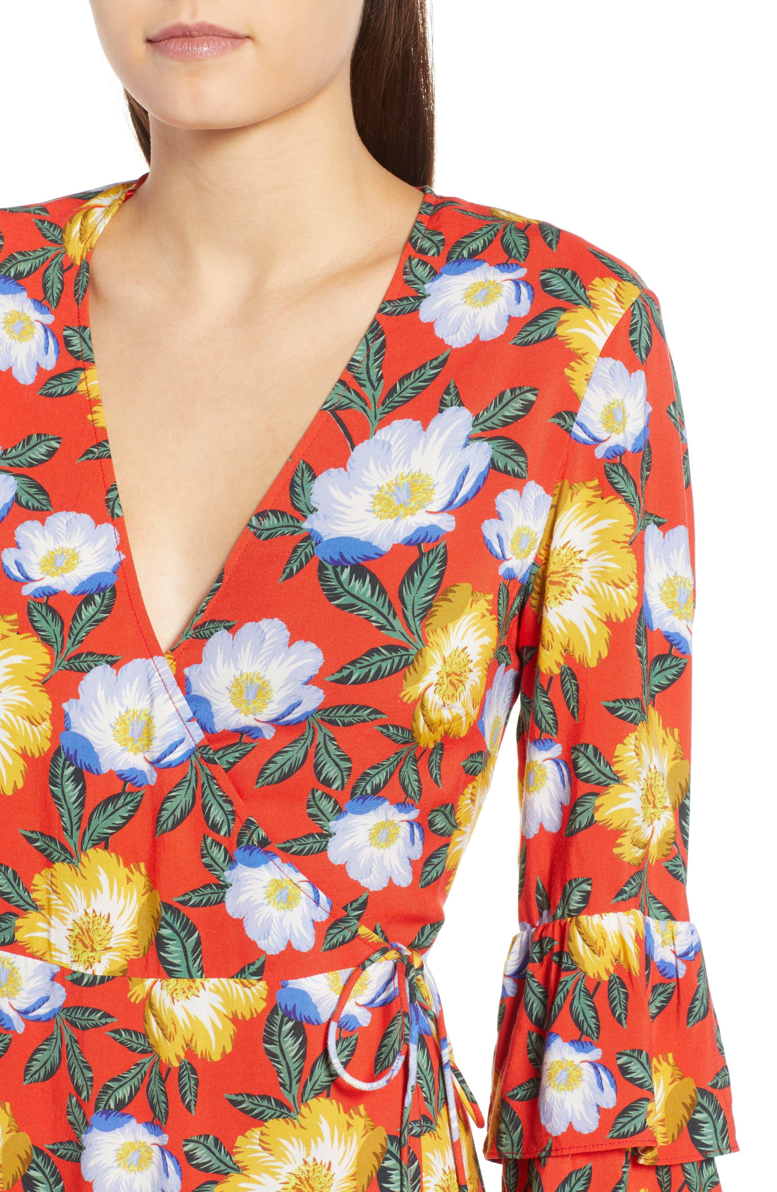 Reunion Floral Wrap Dress,                             Alternate thumbnail 4, color,                             800