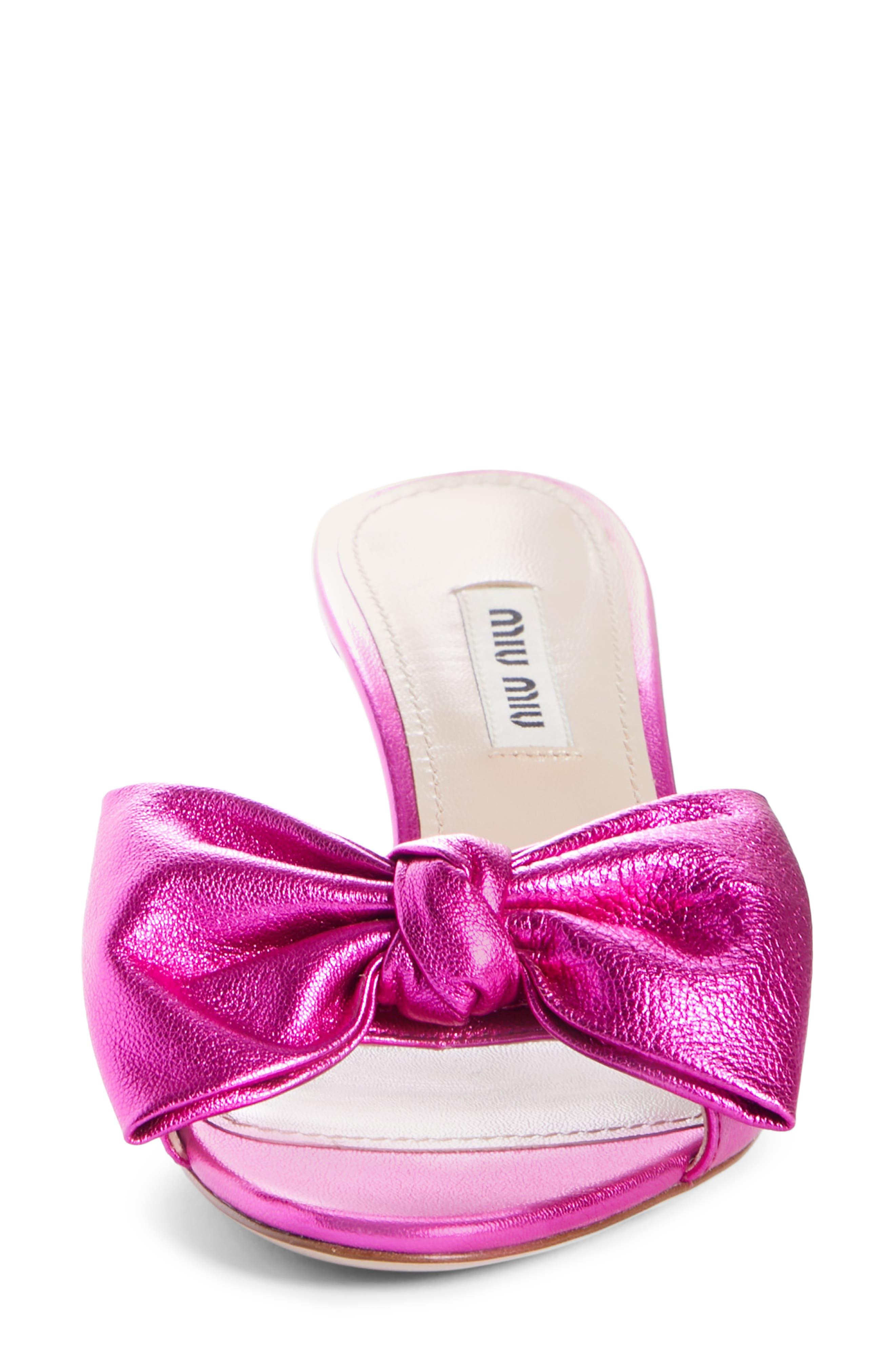 Bow Slide Sandal,                             Alternate thumbnail 4, color,                             FUCHSIA