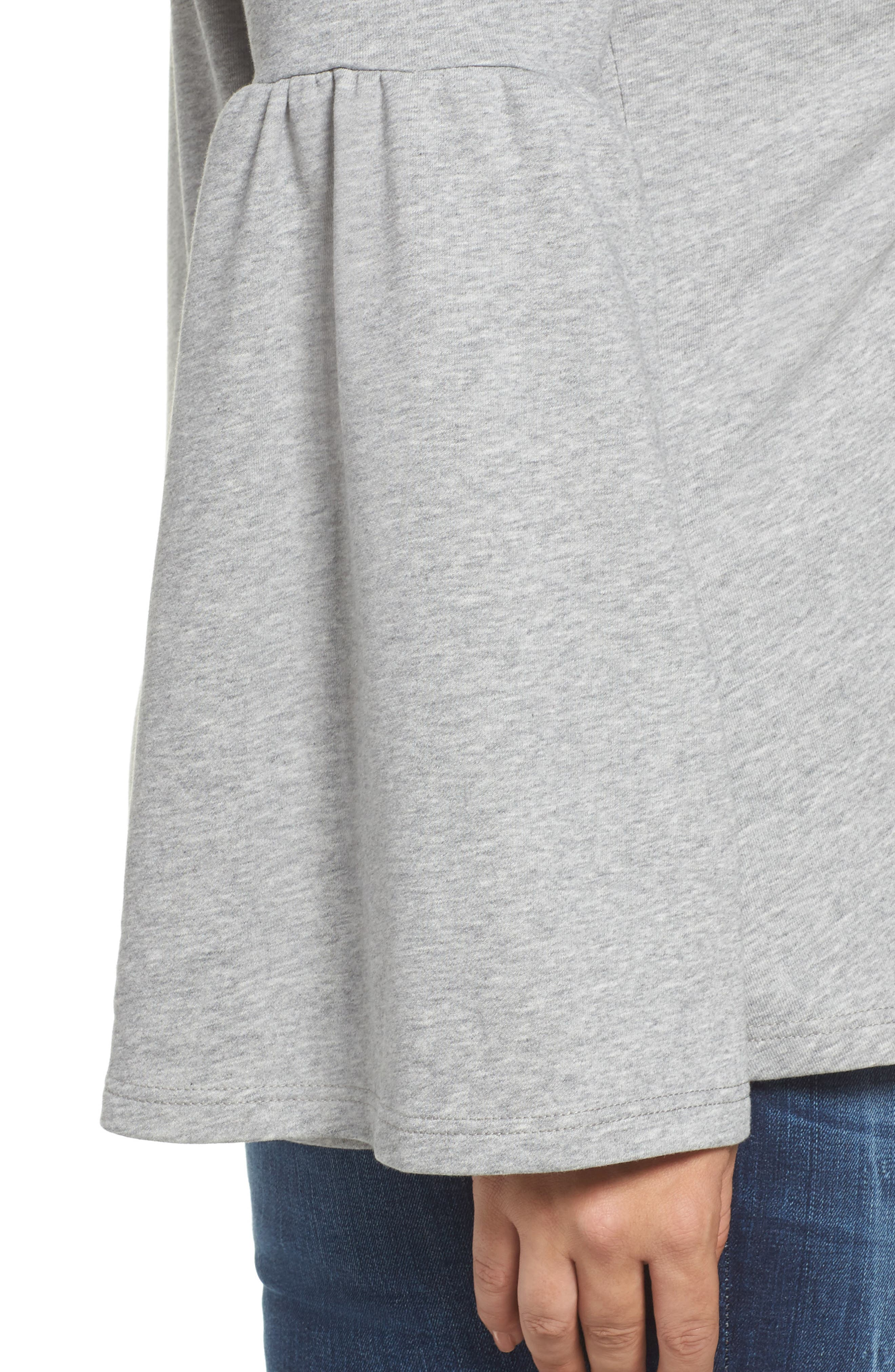 Mock Neck Bell Sleeve Tunic,                             Alternate thumbnail 11, color,