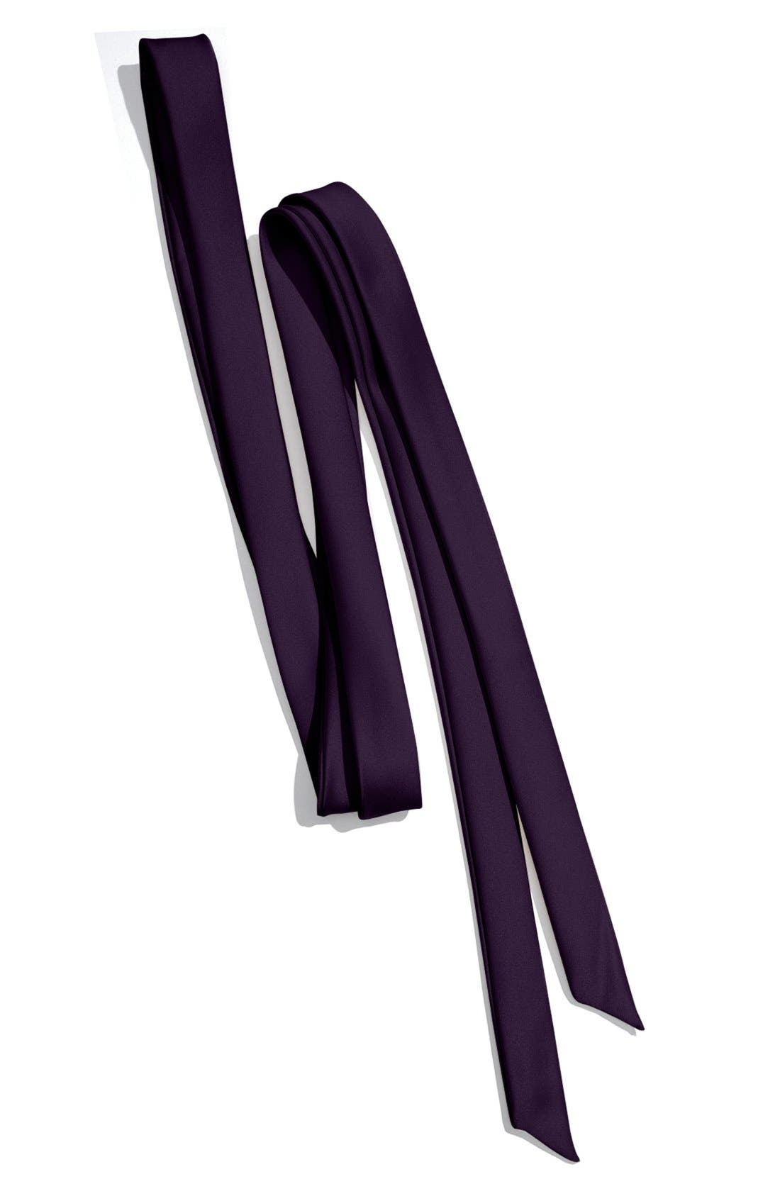 Skinny Satin Sash,                         Main,                         color, PLUM