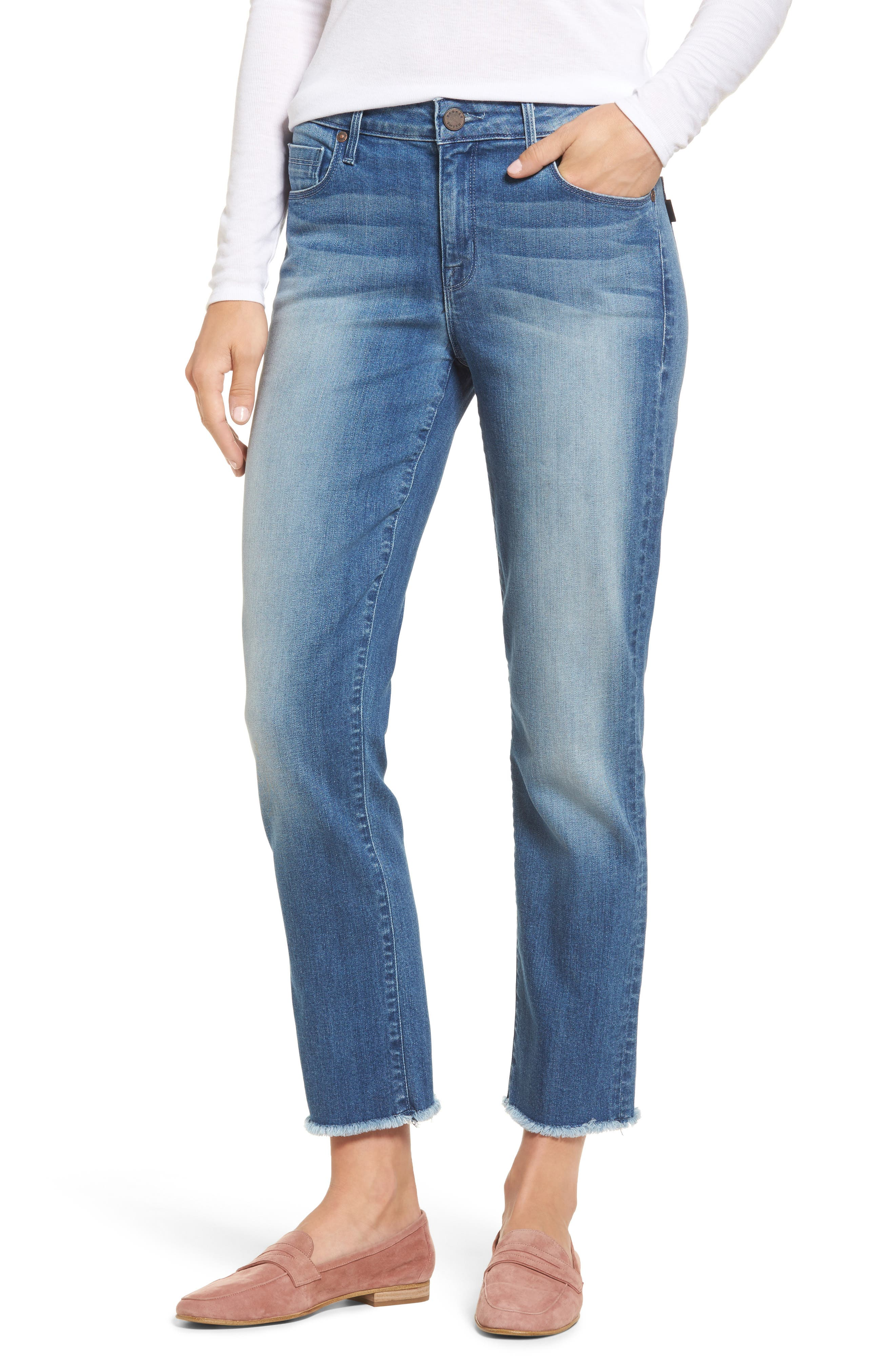 Raw Edge Ankle Straight Jeans,                         Main,                         color, 402
