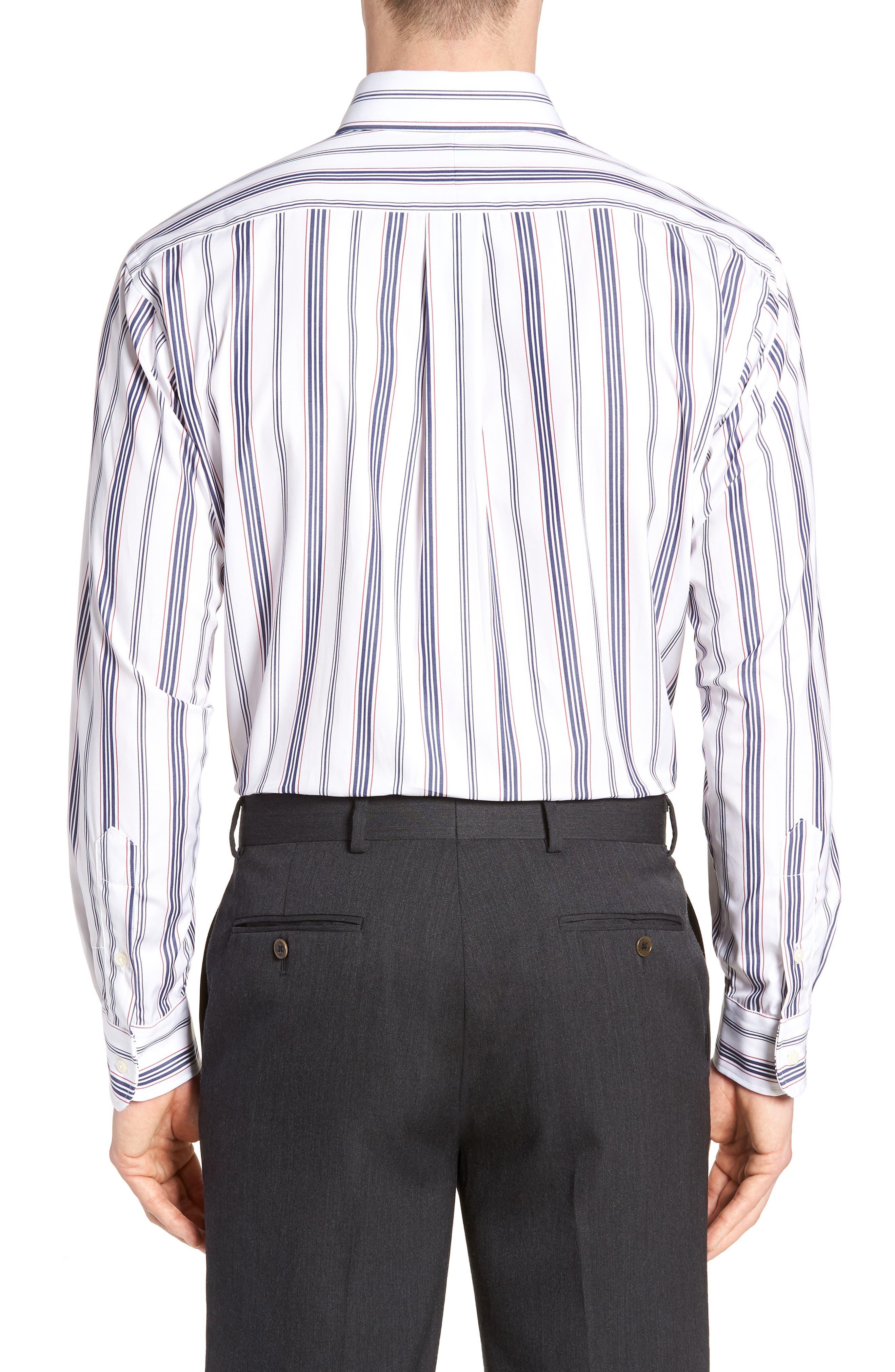 Tailored Fit Stripe Dress Shirt,                             Alternate thumbnail 3, color,                             WHITE/ BLUE
