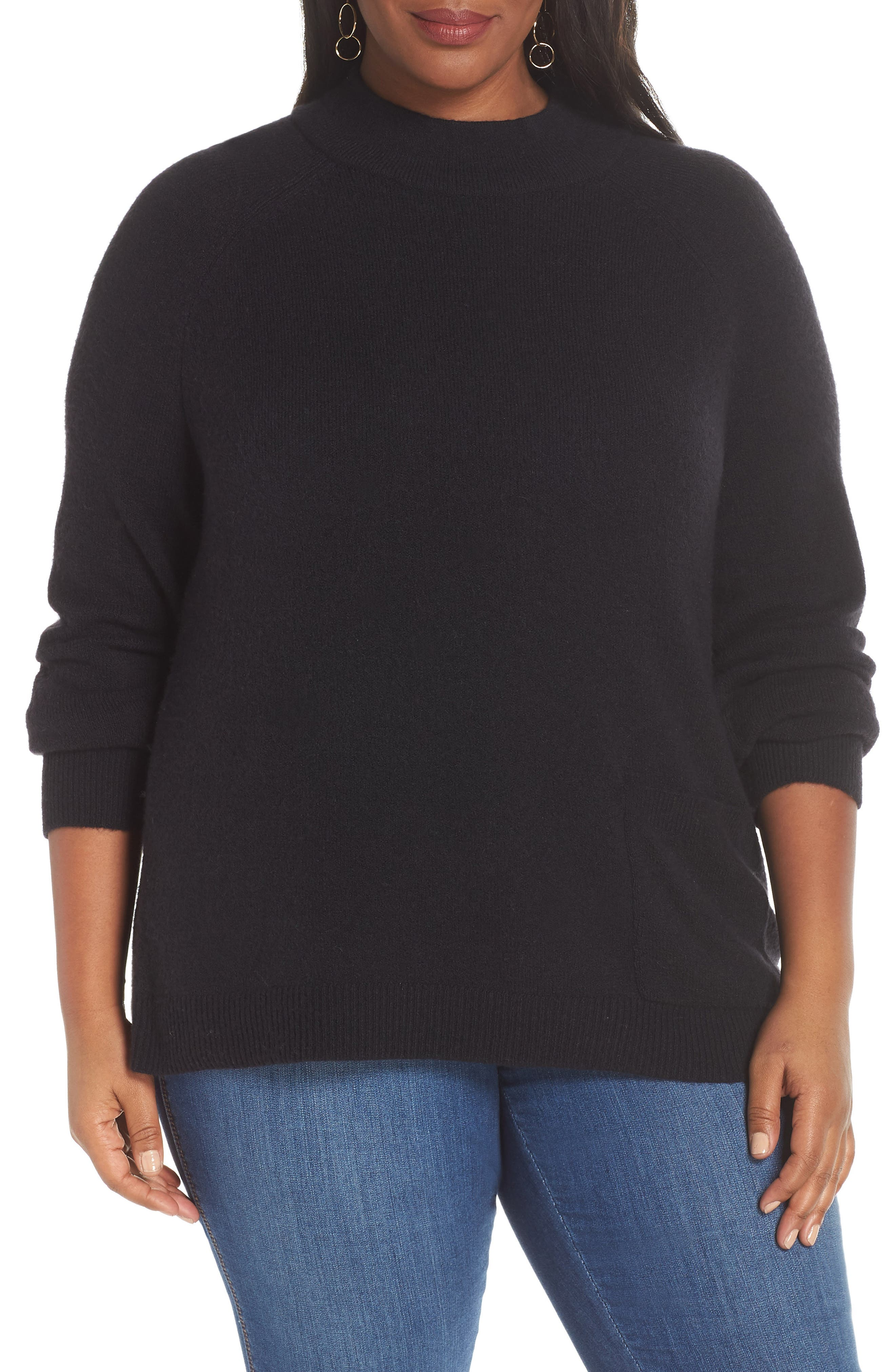 Pocket Front Sweater,                             Main thumbnail 1, color,                             BLACK