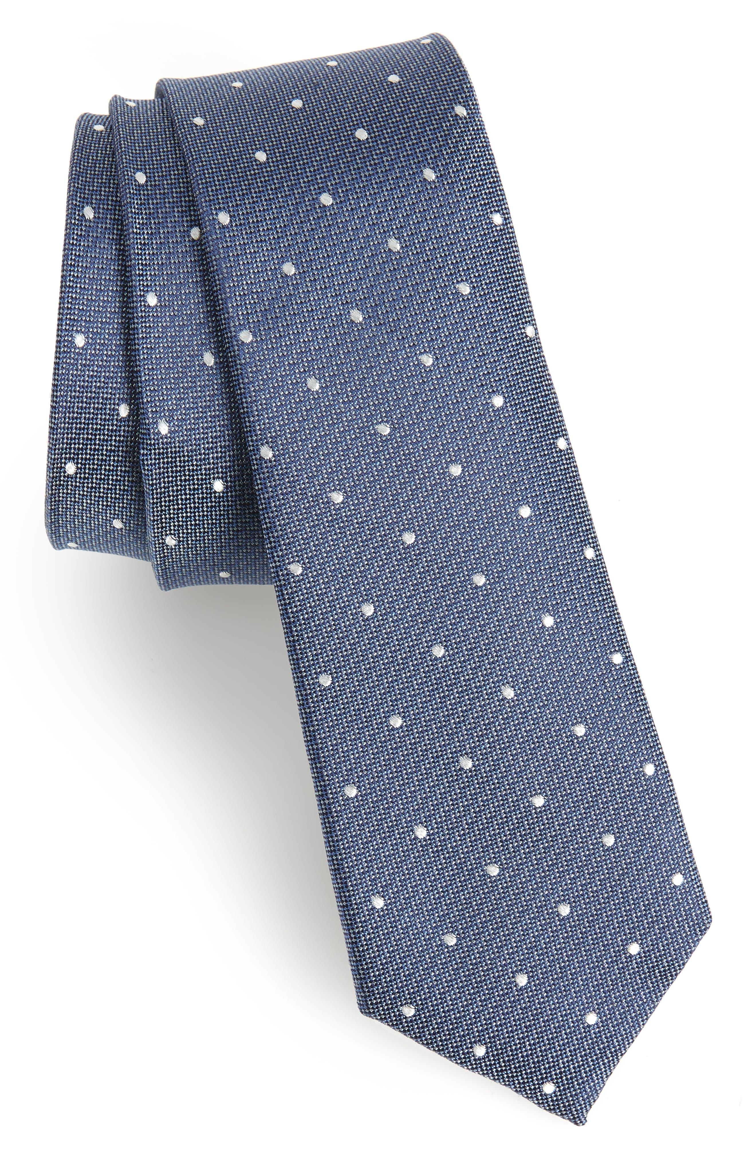 Dot Silk Tie,                         Main,                         color, ROYAL