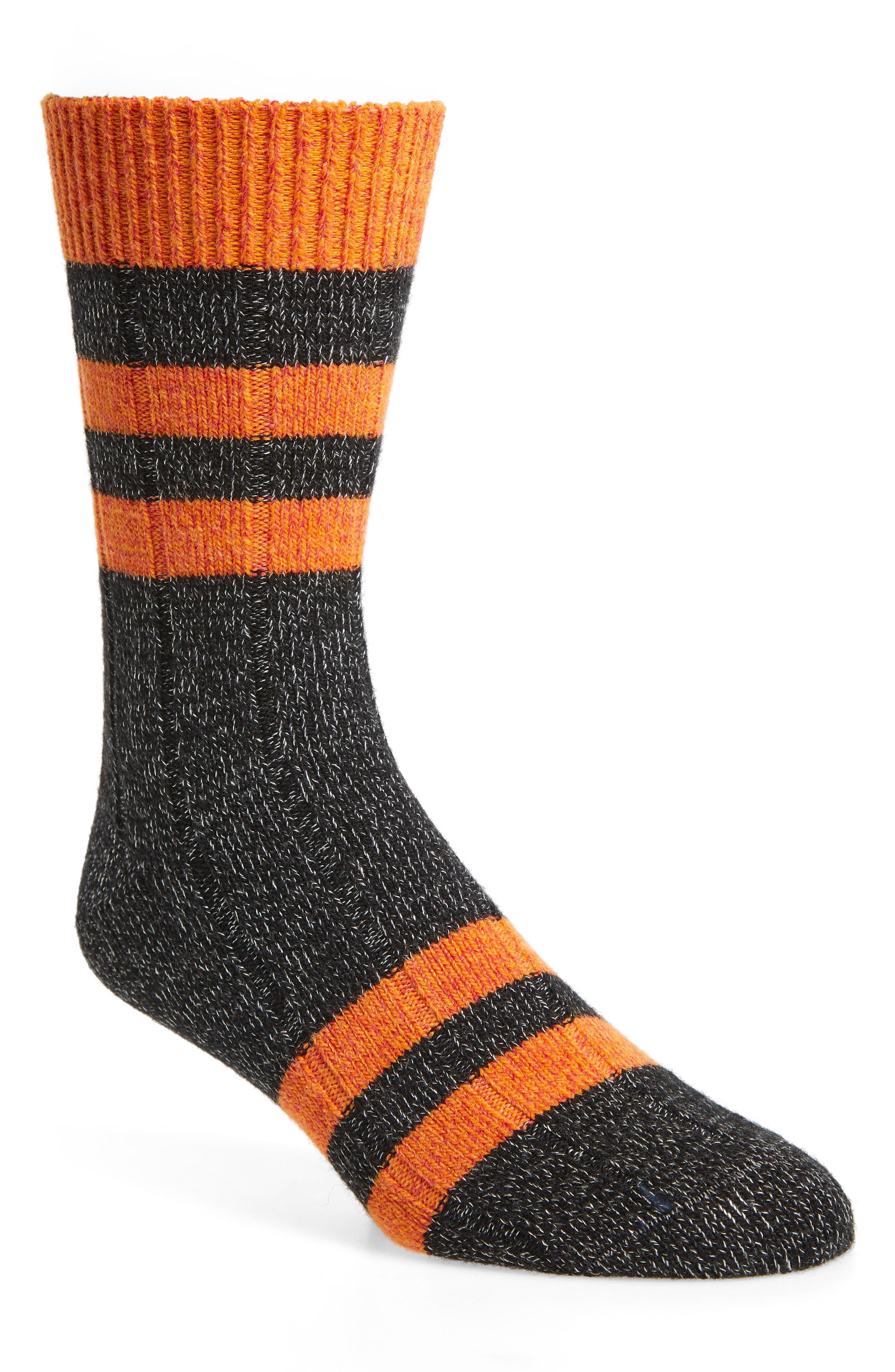 Thick Stripe Socks,                         Main,                         color, BLACK
