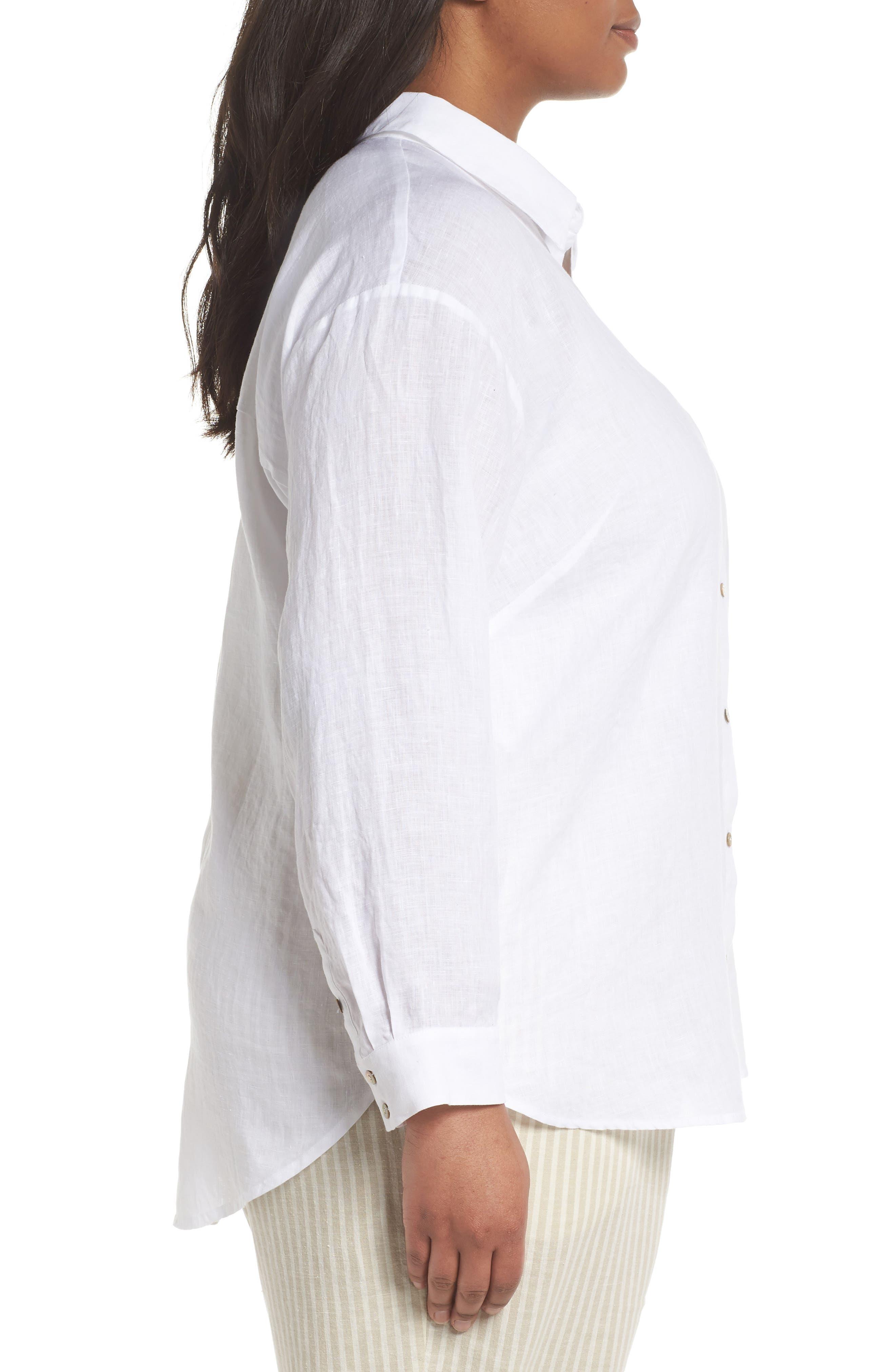 Organic Linen Shirt,                             Alternate thumbnail 3, color,                             100