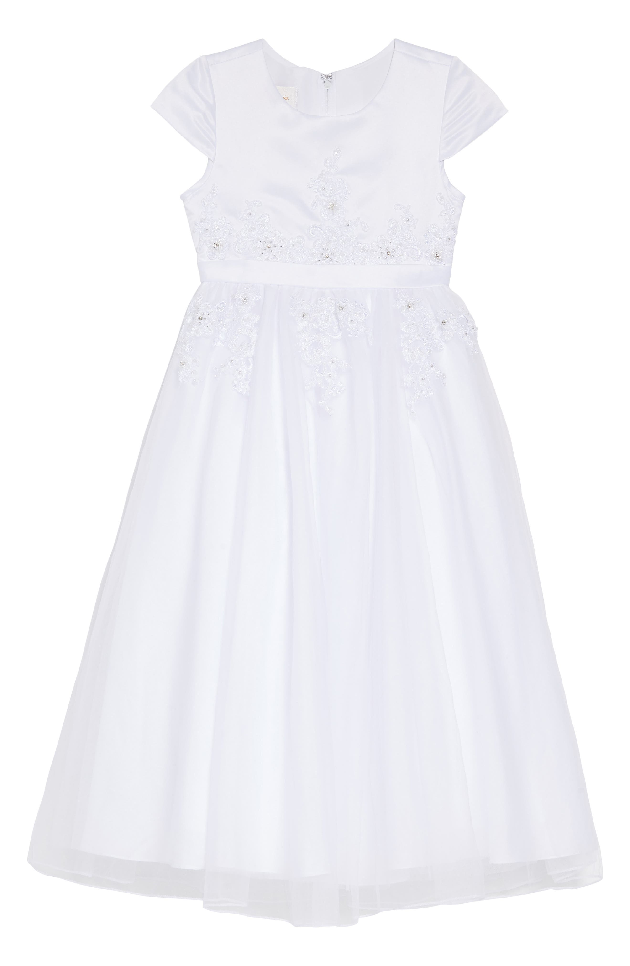 LAUREN MARIE Beaded Lace First Communion Dress, Main, color, WHITE