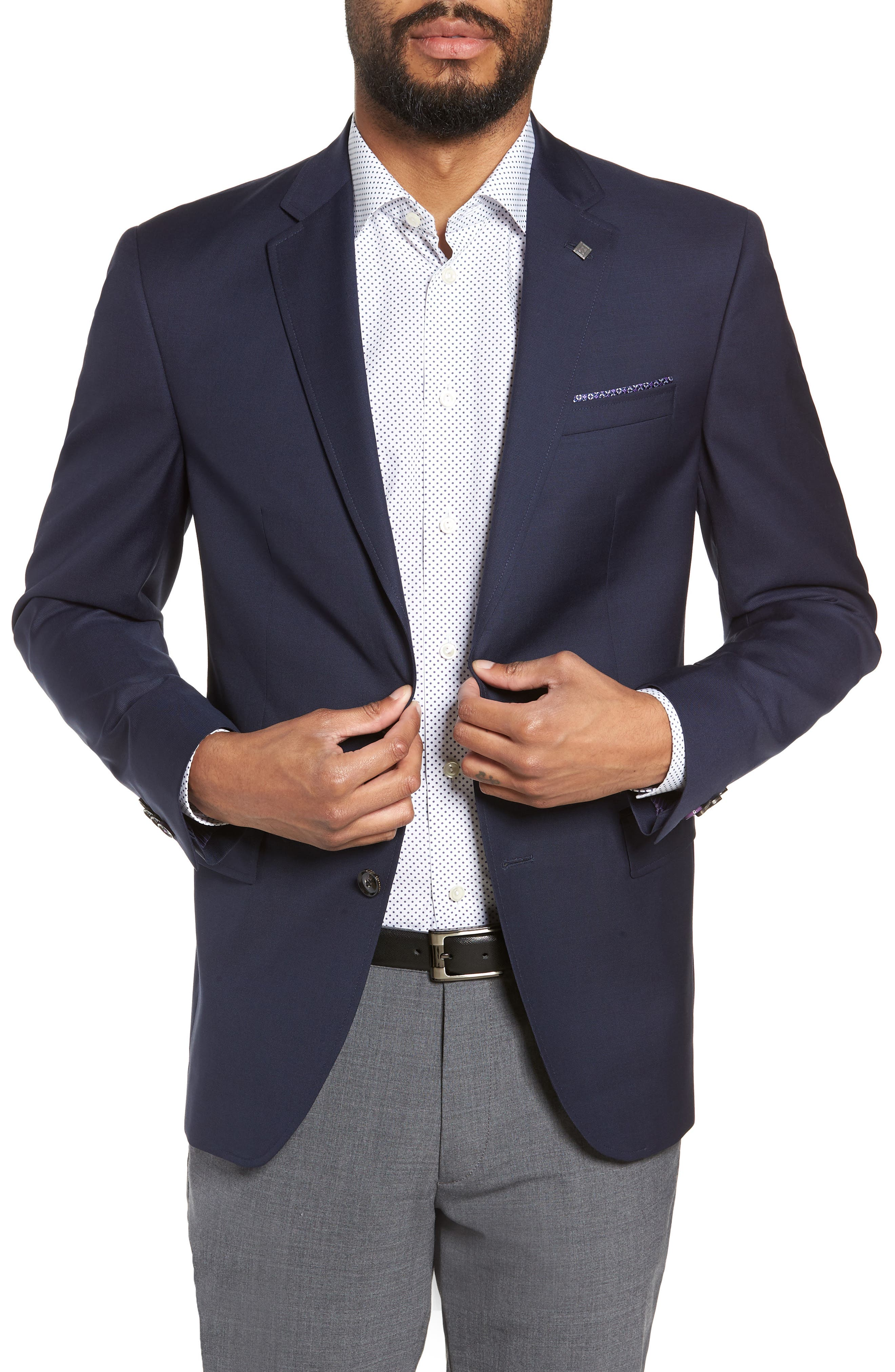Trevi Trim Fit Wool Blazer,                             Main thumbnail 1, color,                             NAVY