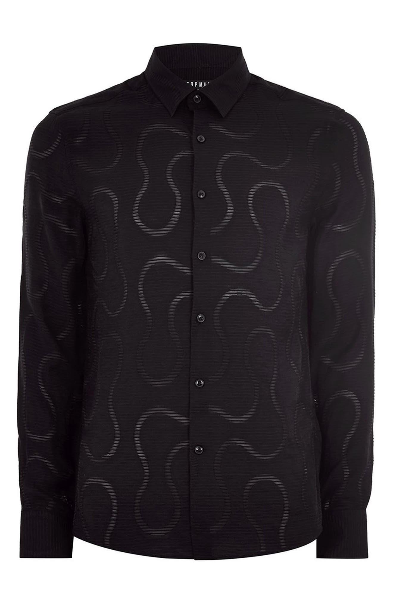 Slim Fit Sheer Swirl Shirt,                             Alternate thumbnail 4, color,                             BLACK