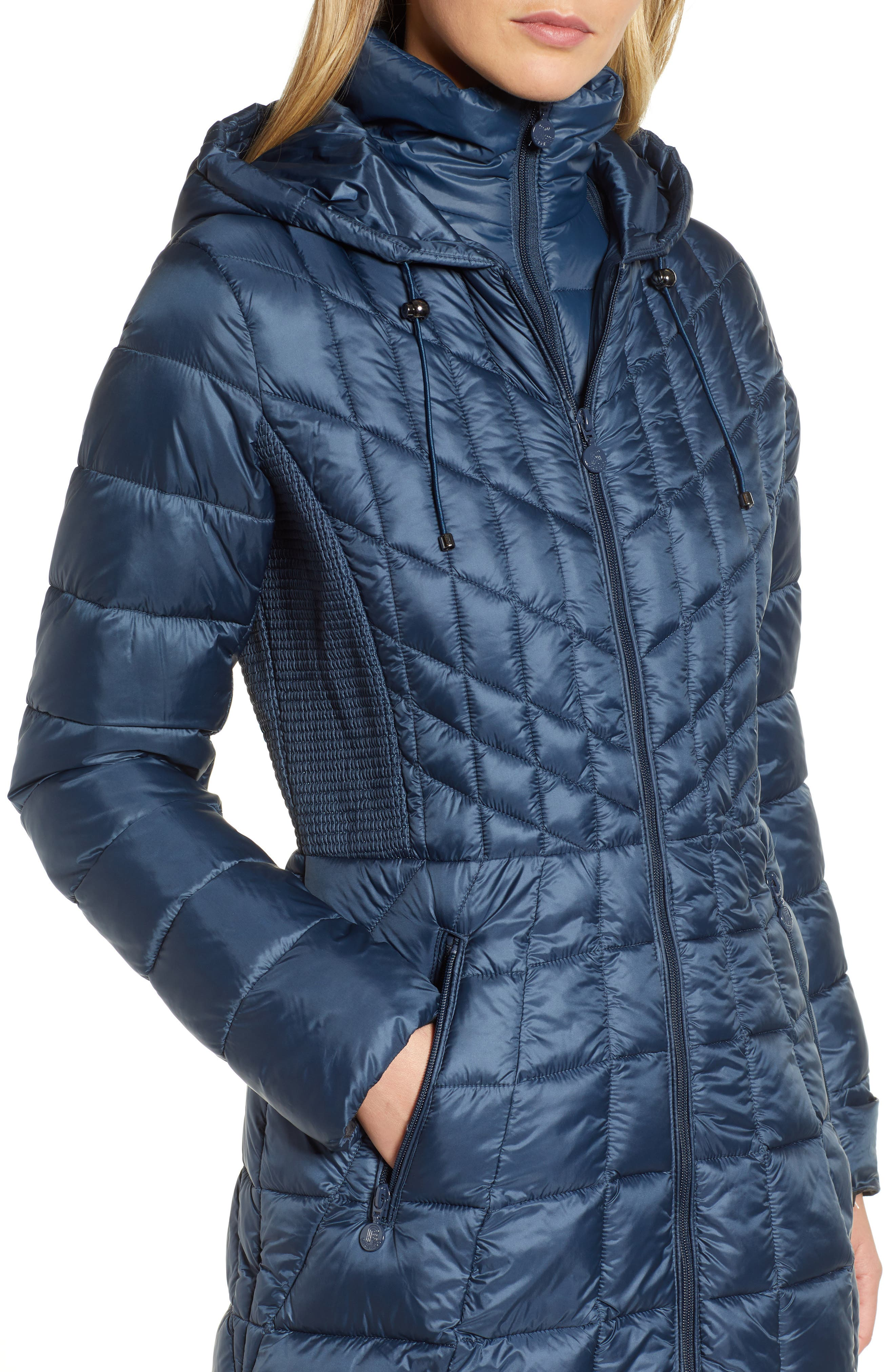 Packable Hooded PrimaLoft<sup>®</sup> Fill Coat with Contrast Inset Bib,                             Alternate thumbnail 6, color,                             DEEP WATER