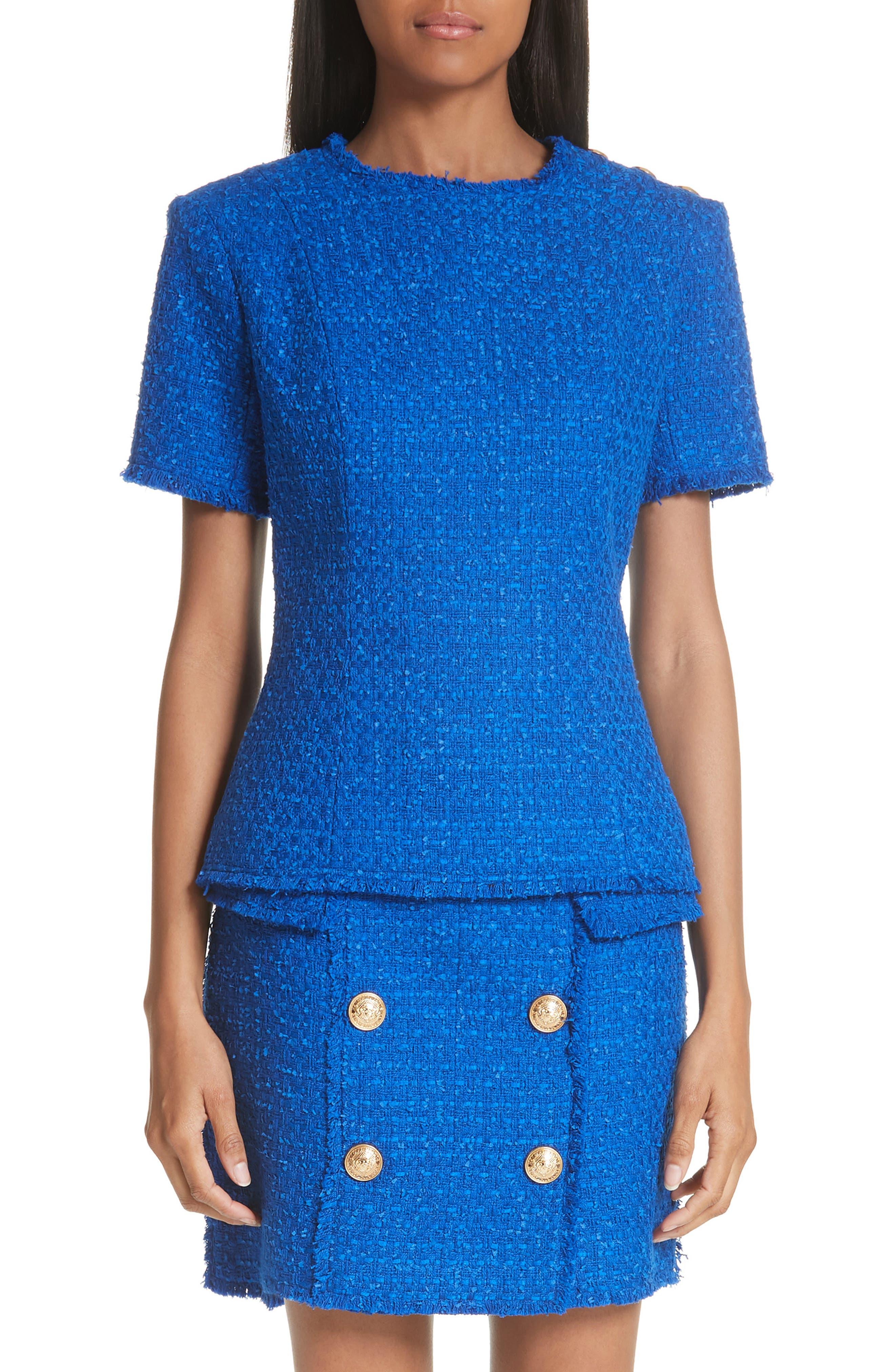 Button Shoulder Tweed Top,                         Main,                         color,