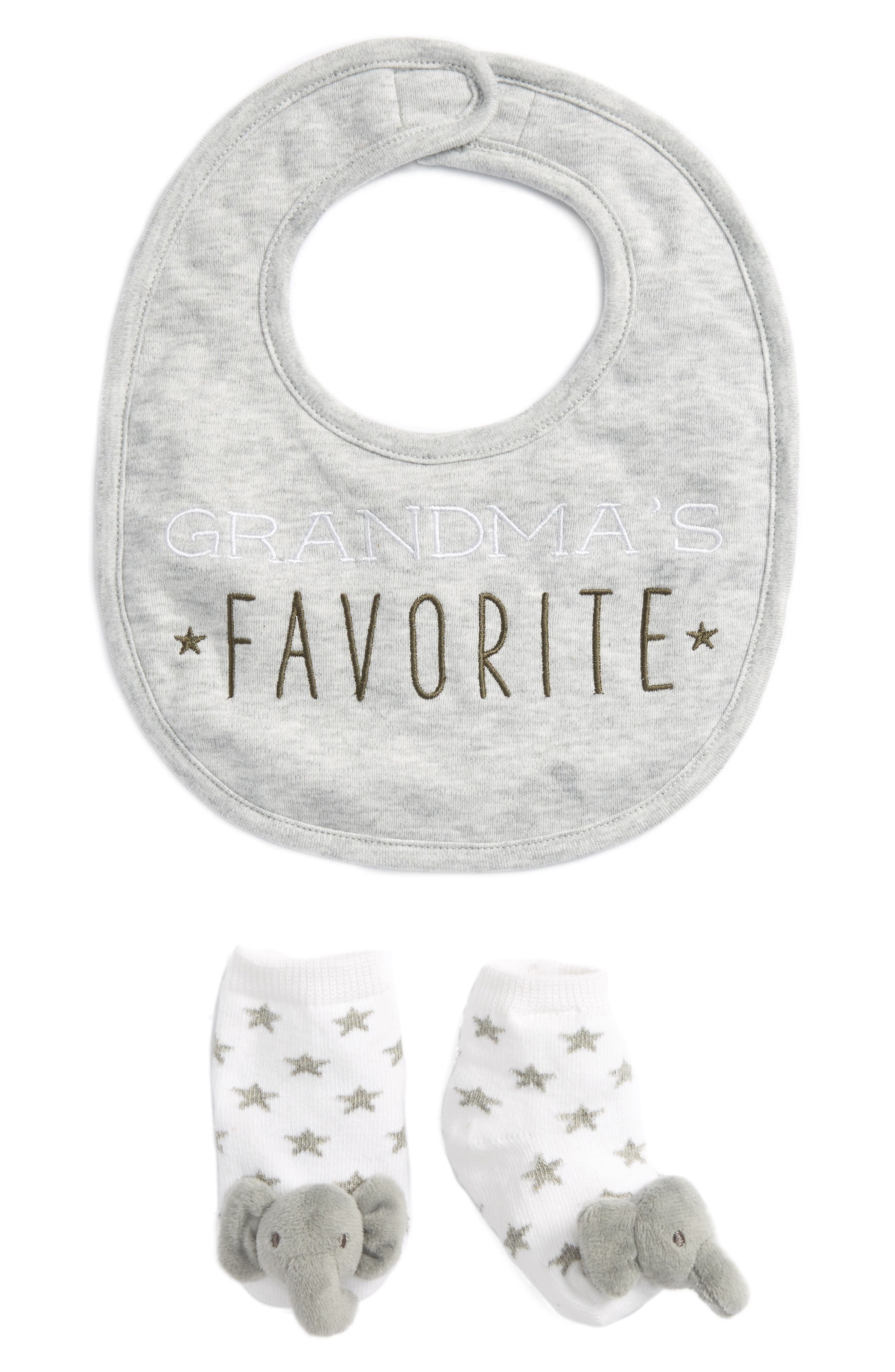 Grandma's Favorite Bib & Socks Set,                         Main,                         color, 020