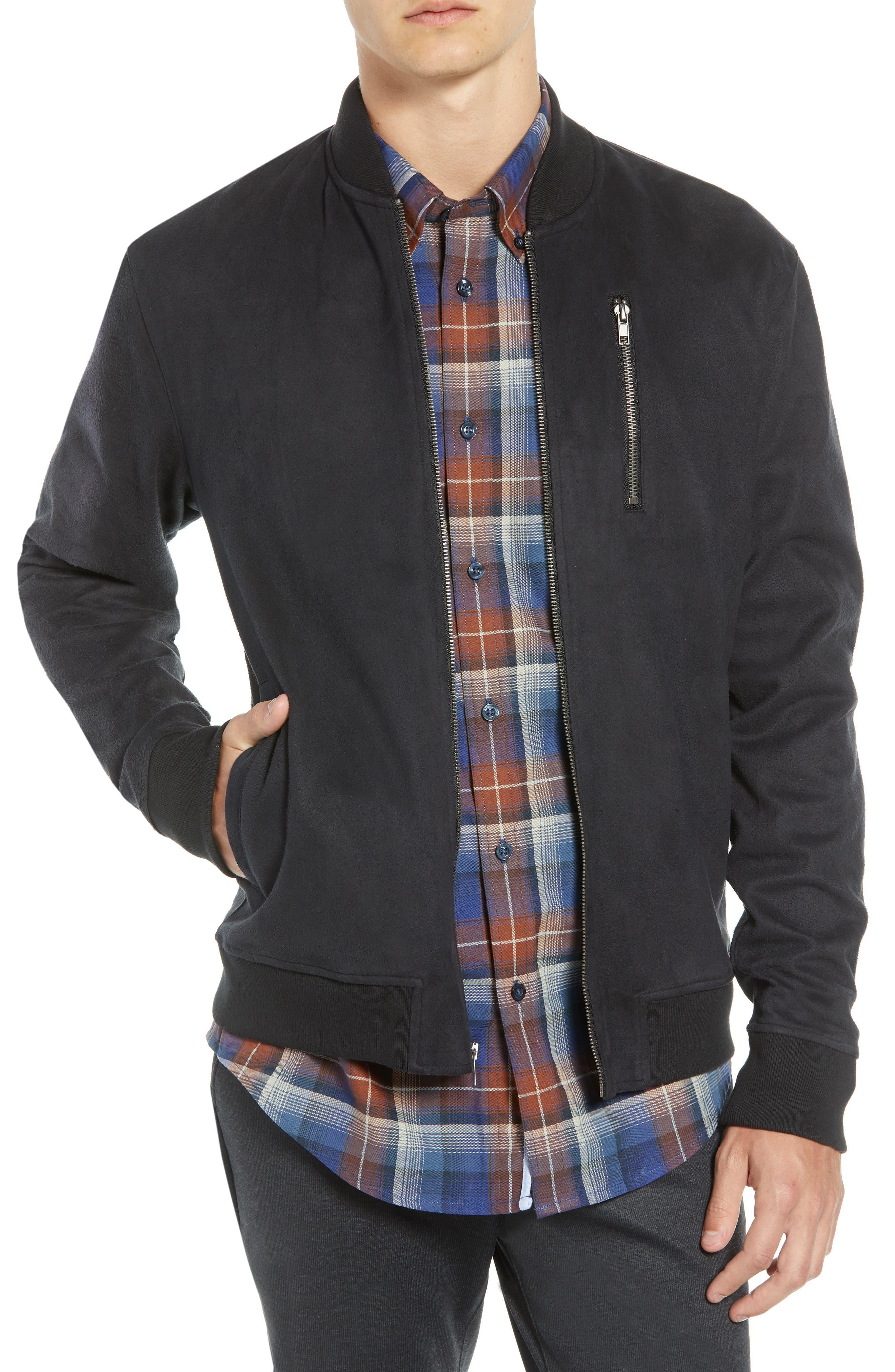 Faux Suede Bomber Jacket,                         Main,                         color, BLACK
