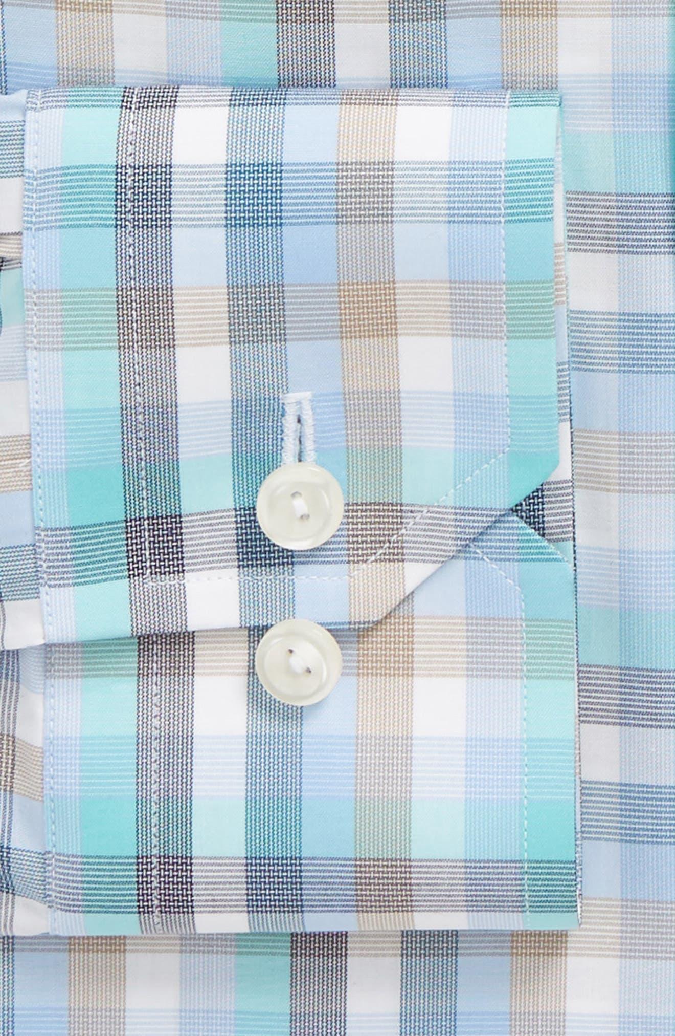 Contemporary Fit Plaid Dress Shirt,                             Alternate thumbnail 6, color,                             BLUE