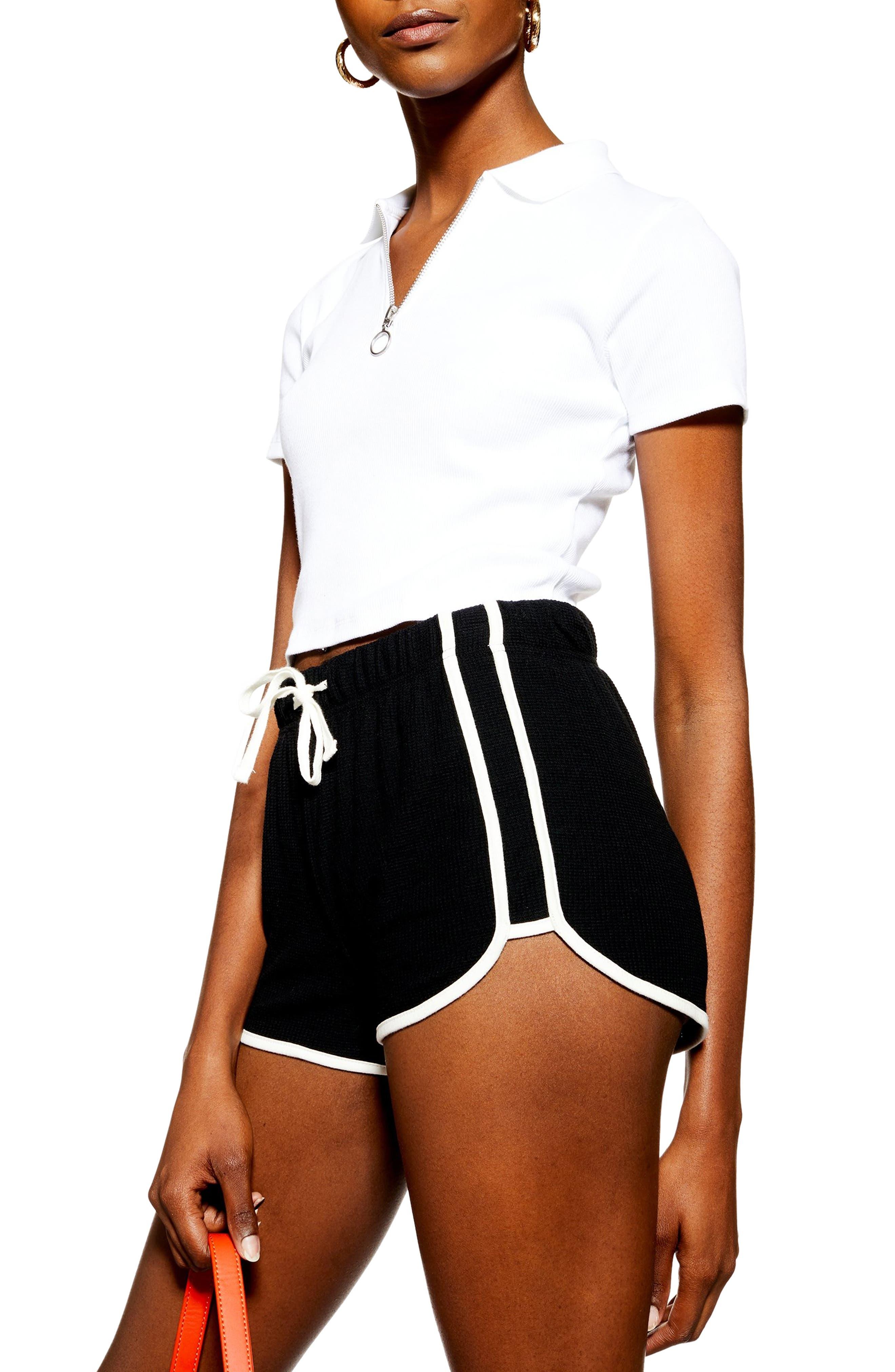 TOPSHOP,                             Waffle Weave Runner Shorts,                             Alternate thumbnail 3, color,                             BLACK