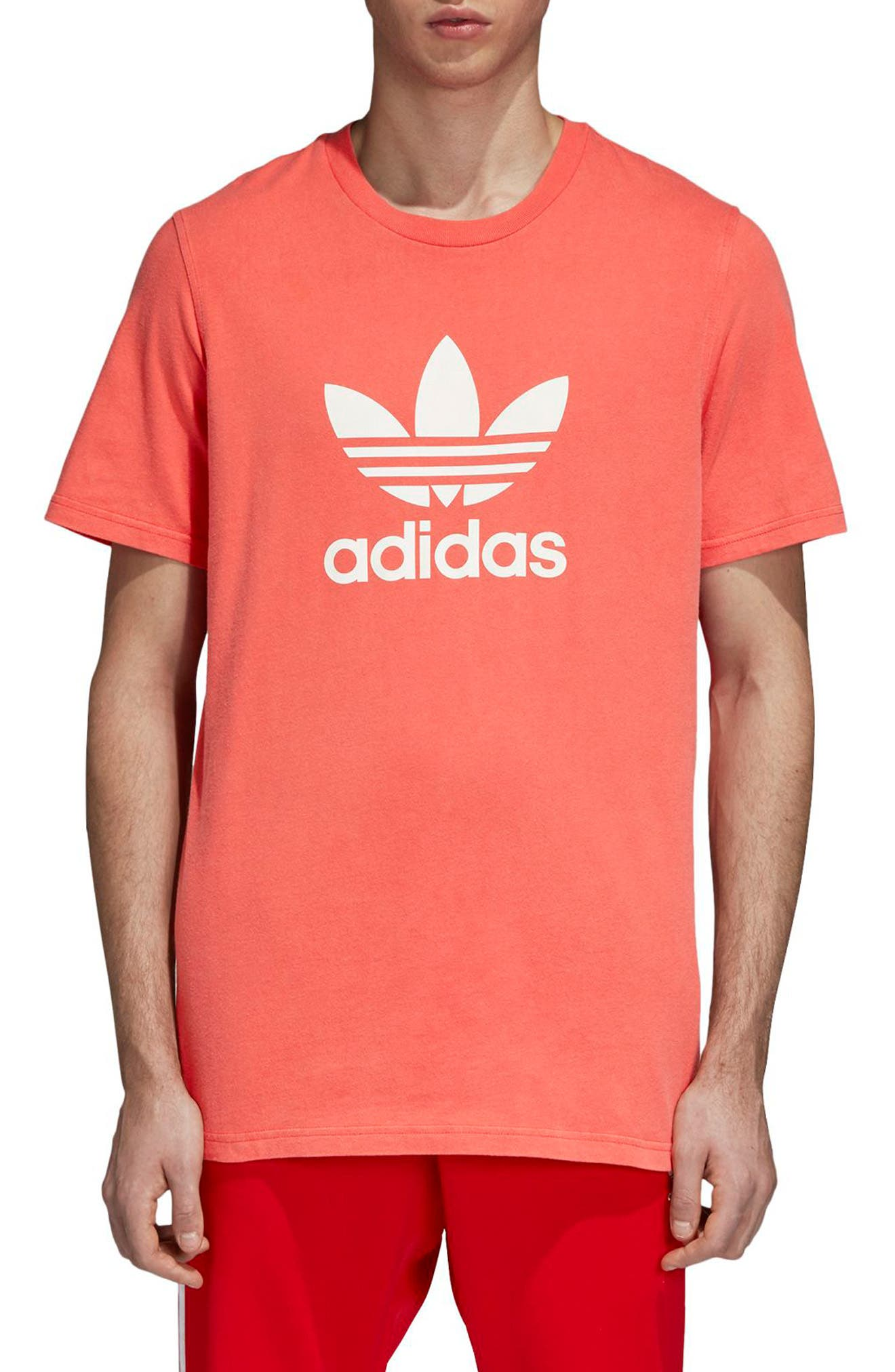 Trefoil Graphic T-Shirt,                         Main,                         color, BRIGHT RED