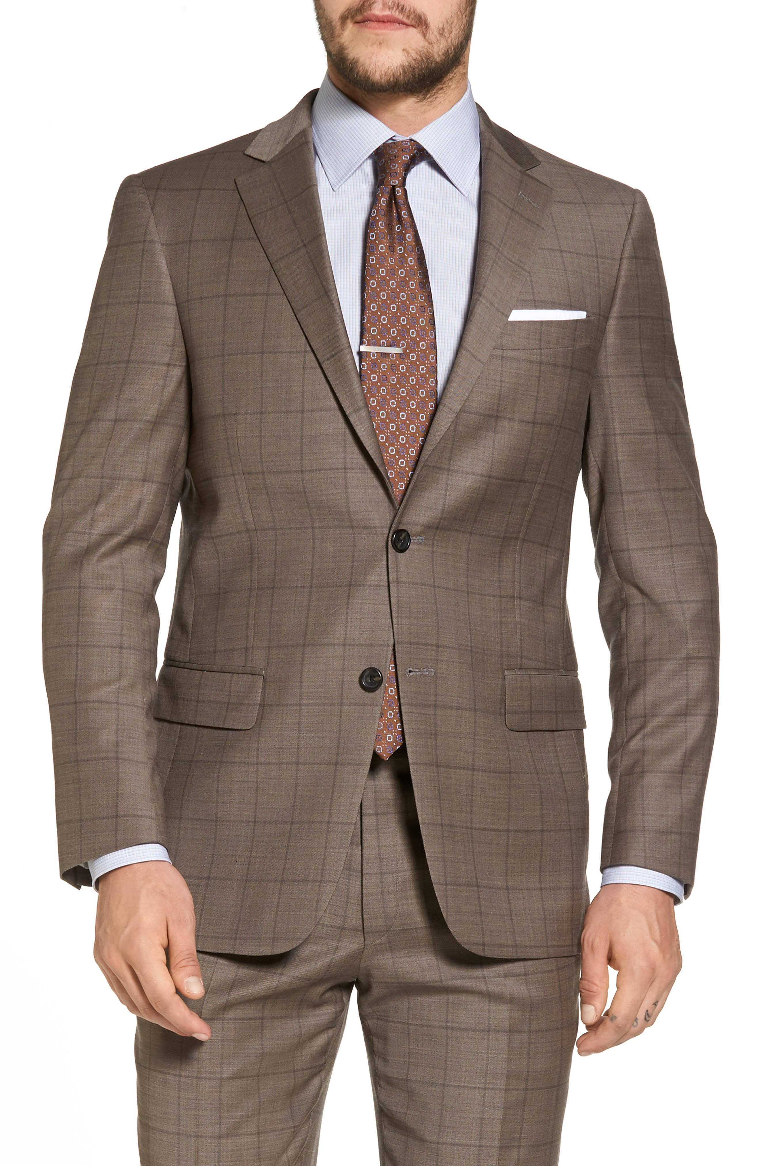 New York Classic Fit Stretch Windowpane Wool Suit,                             Alternate thumbnail 5, color,                             210