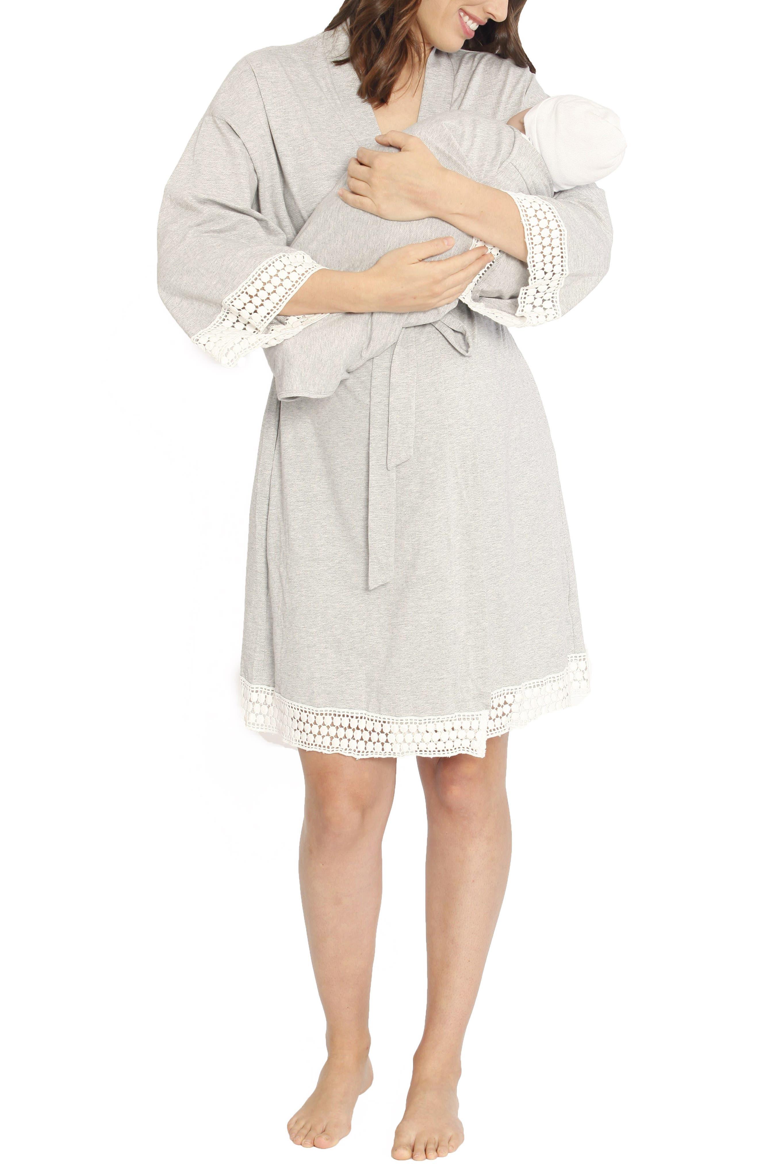 Nursing/Maternity Dress, Robe & Baby Wrap Set,                             Alternate thumbnail 2, color,                             GREY/ WHITE