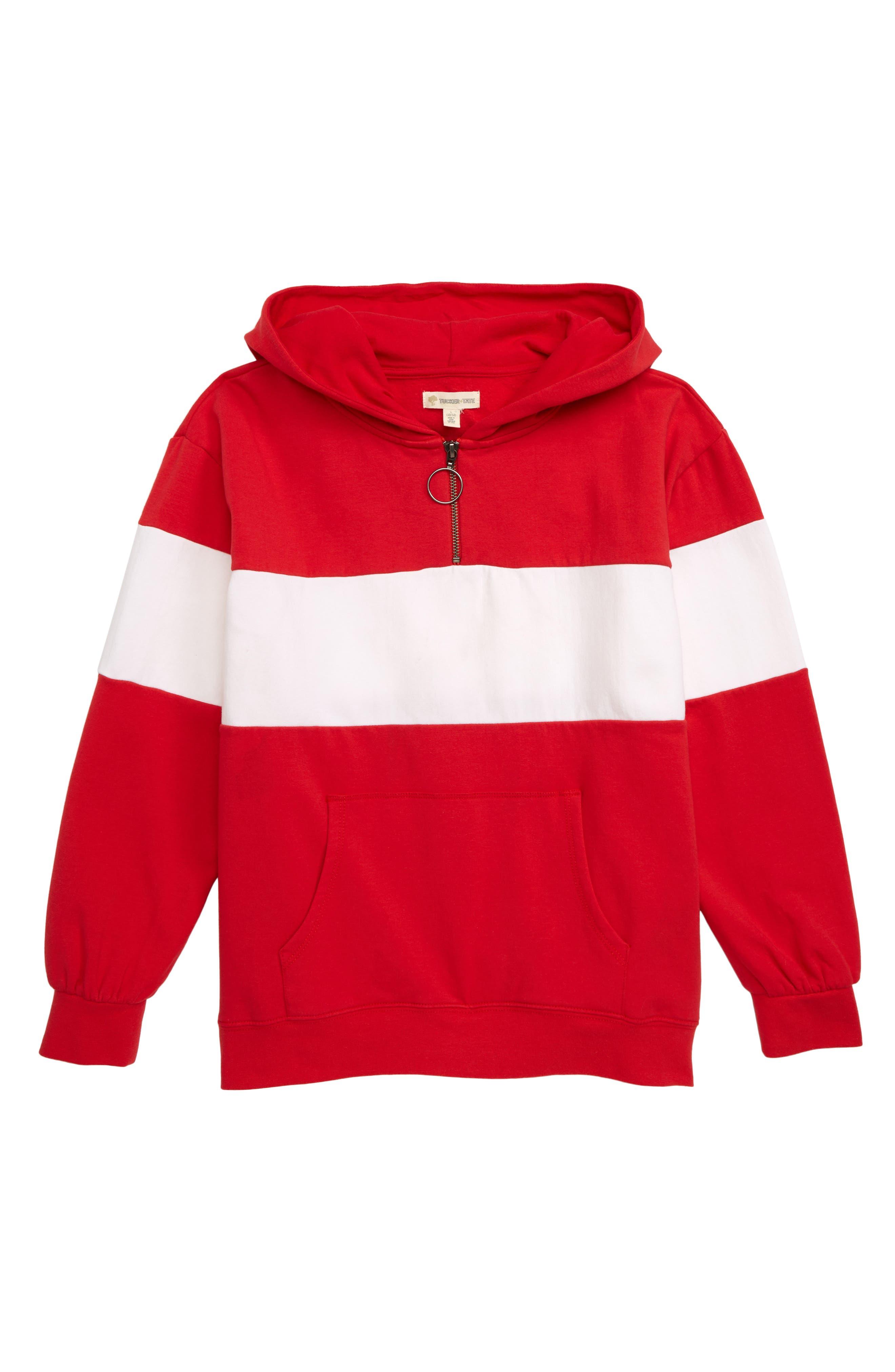 Colorblock Quarter Zip Hoodie, Main, color, RED PEPPER