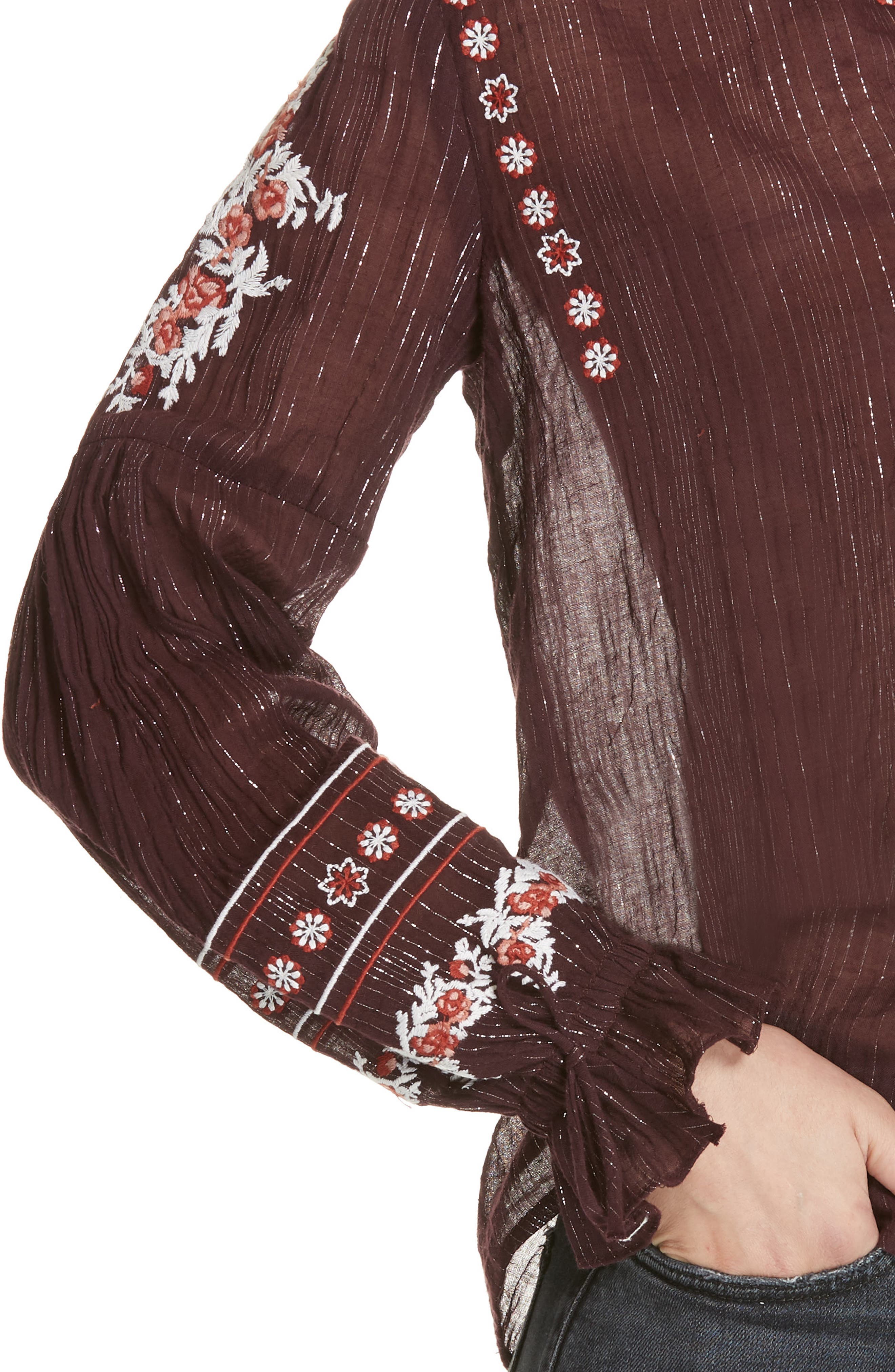 DOLAN,                             Lily Embroidered Peasant Top,                             Alternate thumbnail 4, color,                             MULBERRY