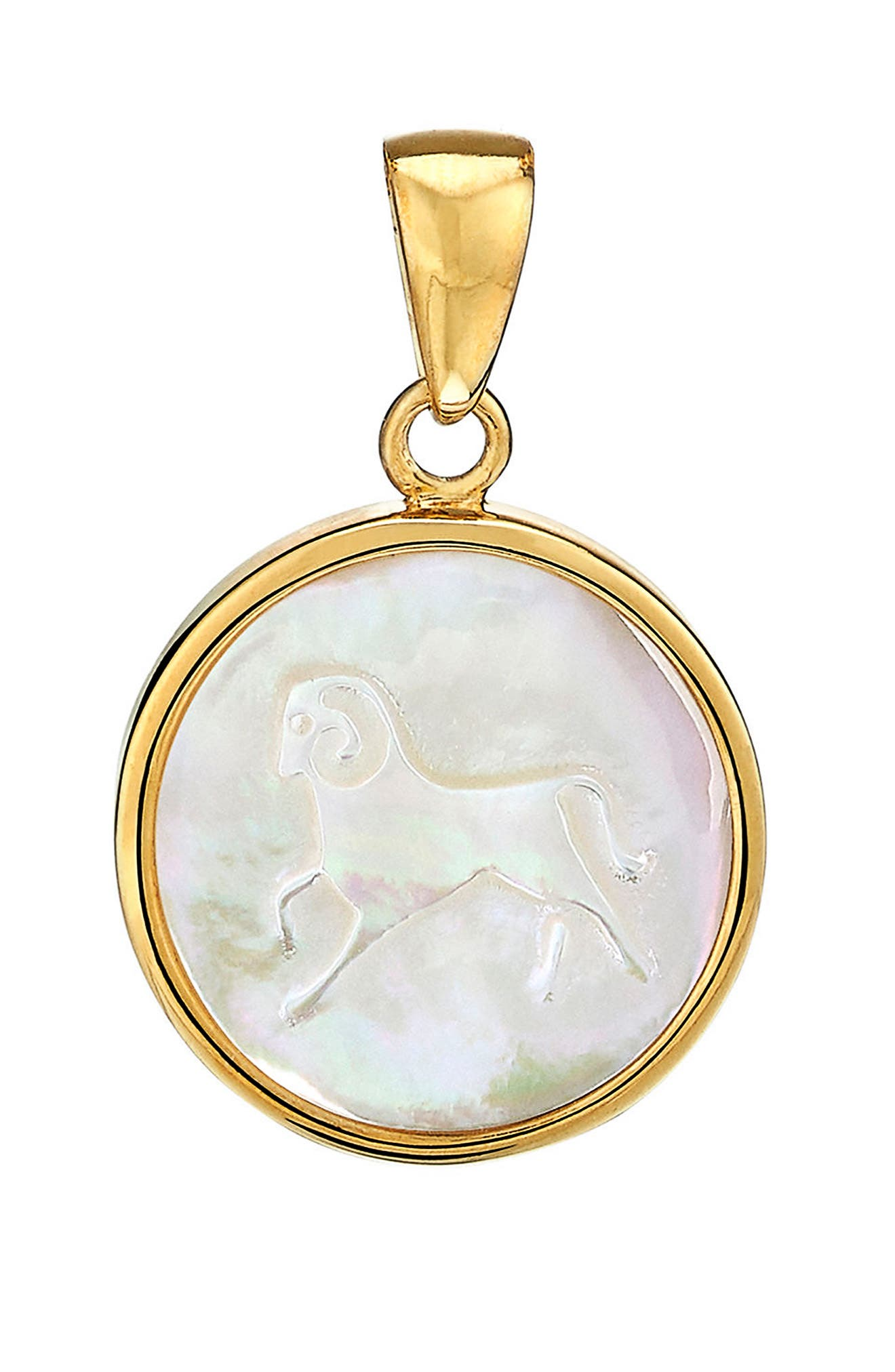 Zodiac Mother-of-Pearl Charm,                             Main thumbnail 1, color,                             ARIES