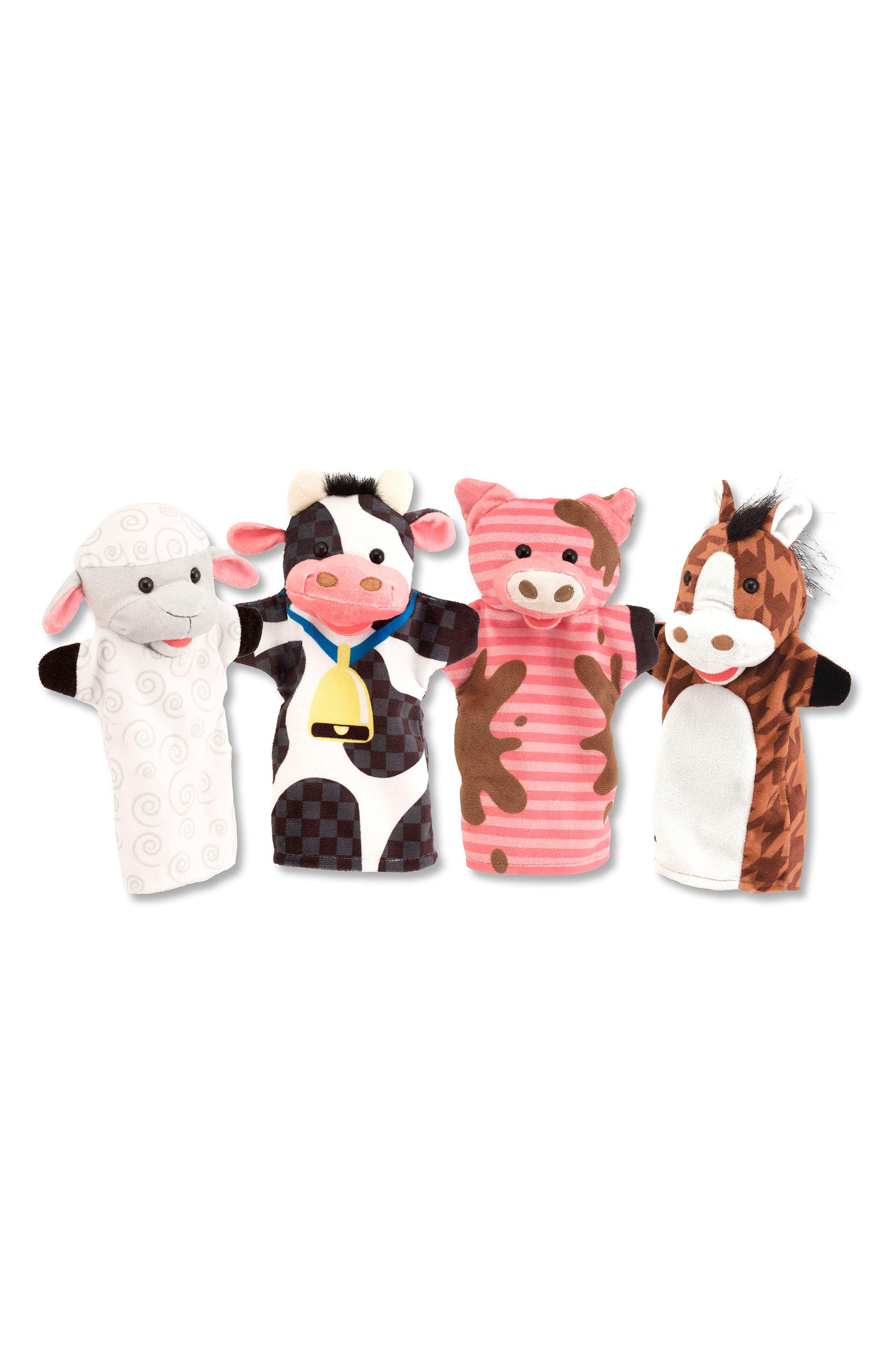 Farm Friends 4-Piece Hand Puppet Set,                             Main thumbnail 1, color,                             200