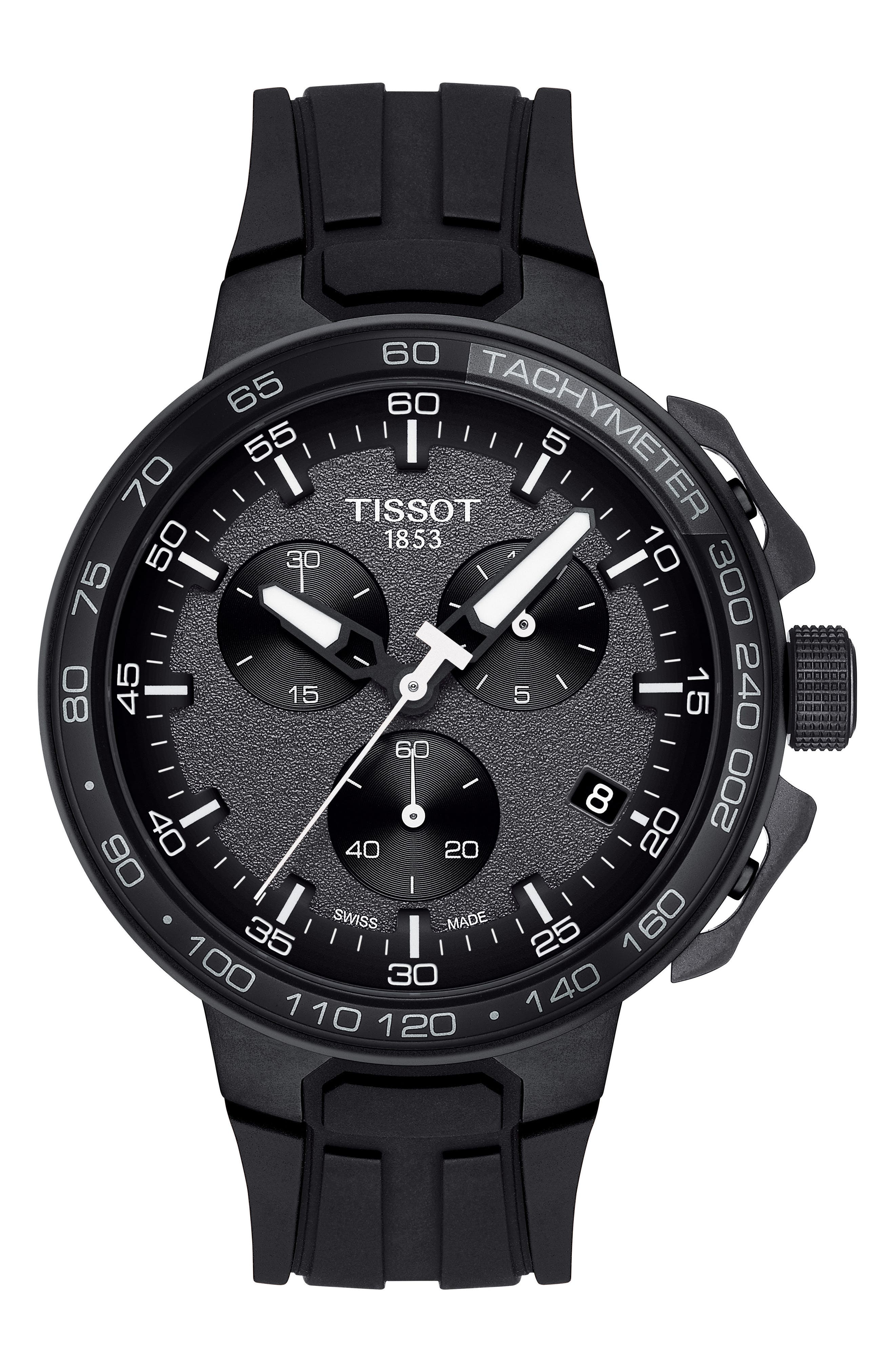 T-Race Cycling Chronograph Watch, 44.5mm,                             Main thumbnail 1, color,                             BLACK/ ANTHRACITE/ SILVER