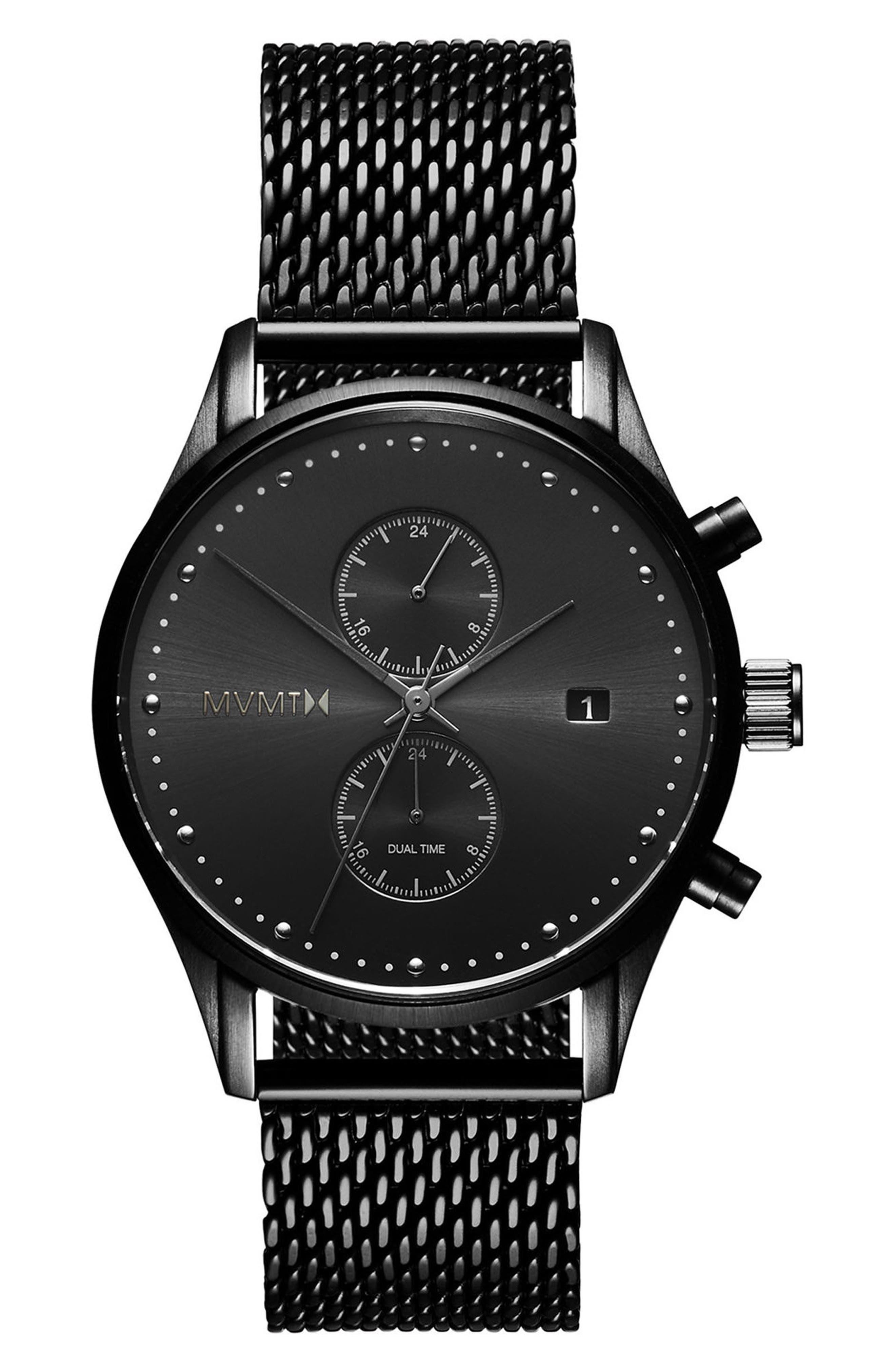 Voyager Chronograph Mesh Bracelet Watch, 42mm,                             Main thumbnail 1, color,                             BLACK/ SLATE
