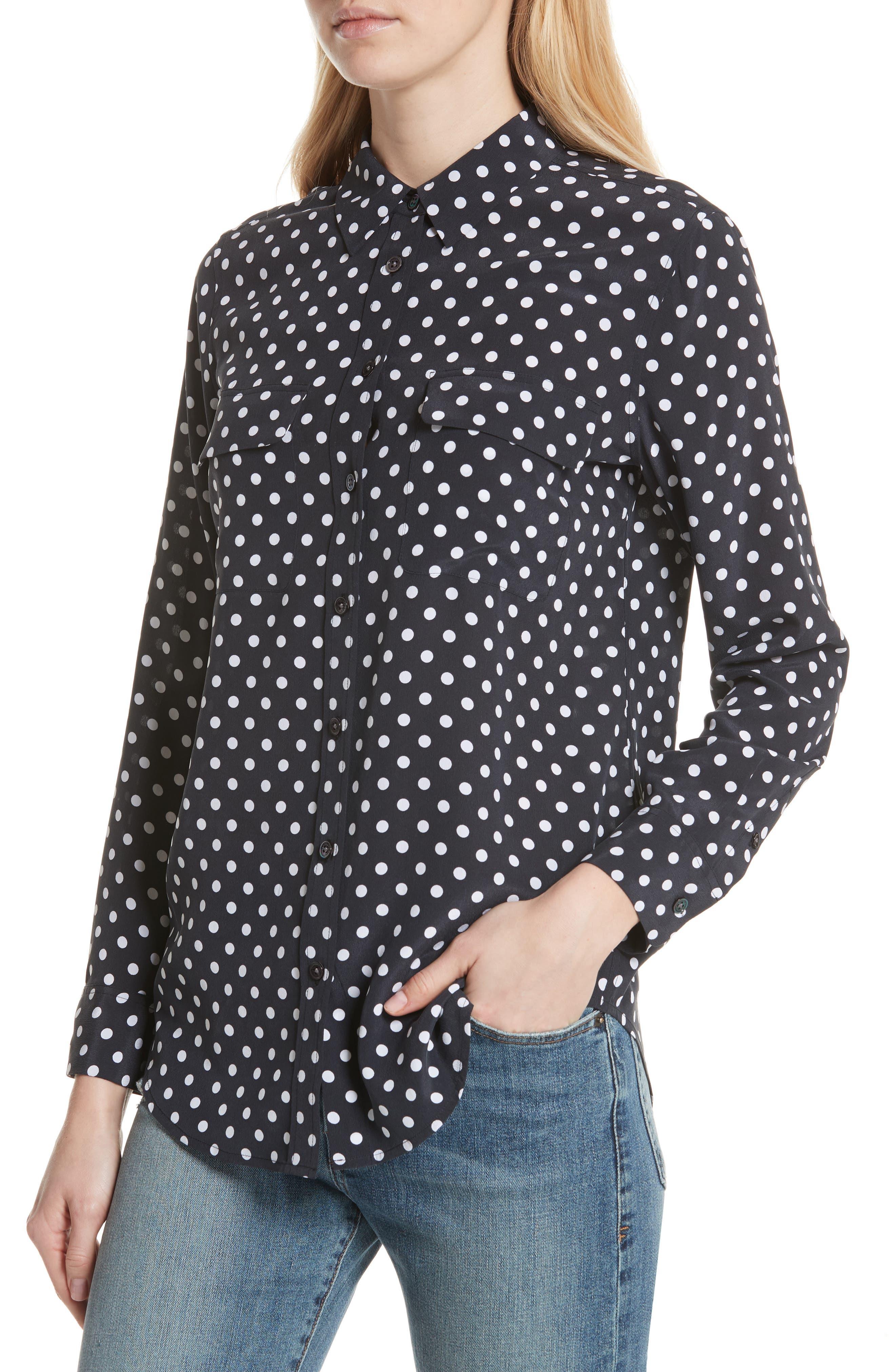 Slim Signature Polka Dot Silk Shirt,                             Alternate thumbnail 4, color,                             ECLIPSE/ BRIGHT WHITE