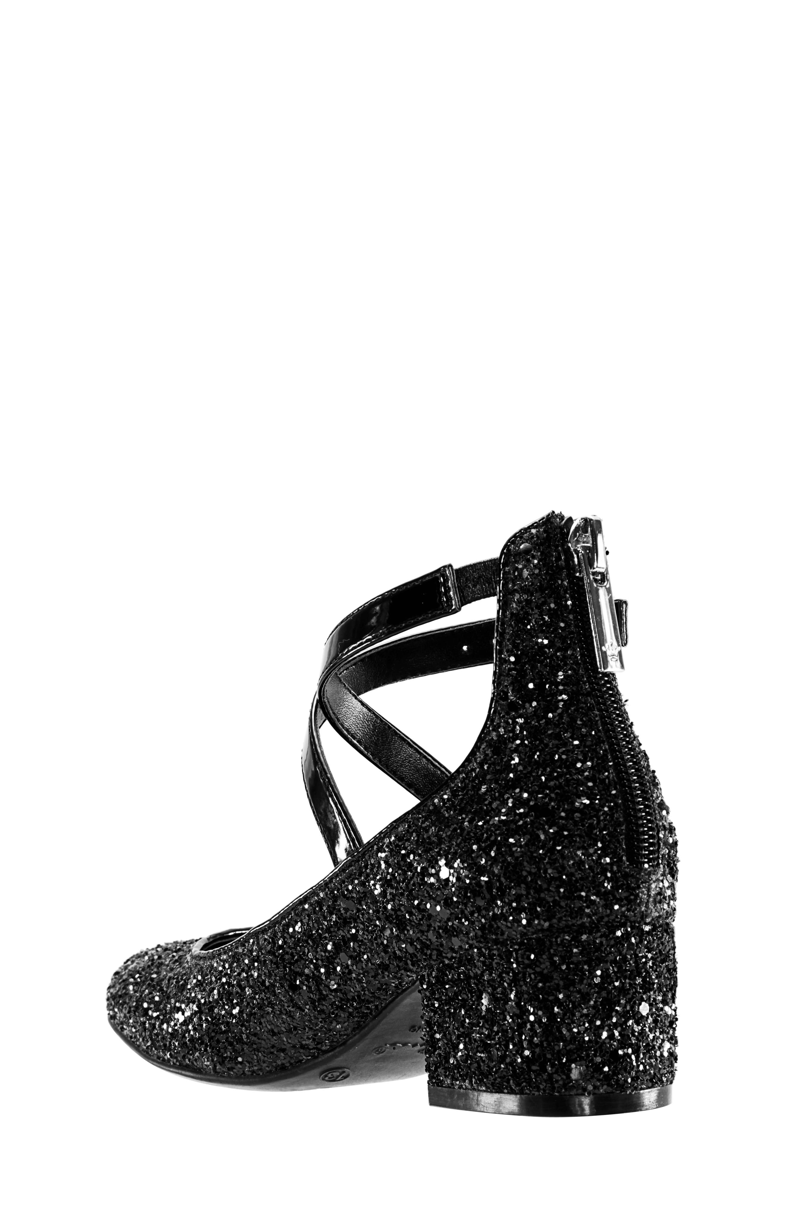 Deisy Glitter Block Heel Pump,                             Alternate thumbnail 2, color,                             BLACK CHUNK GLITTER/ PATENT